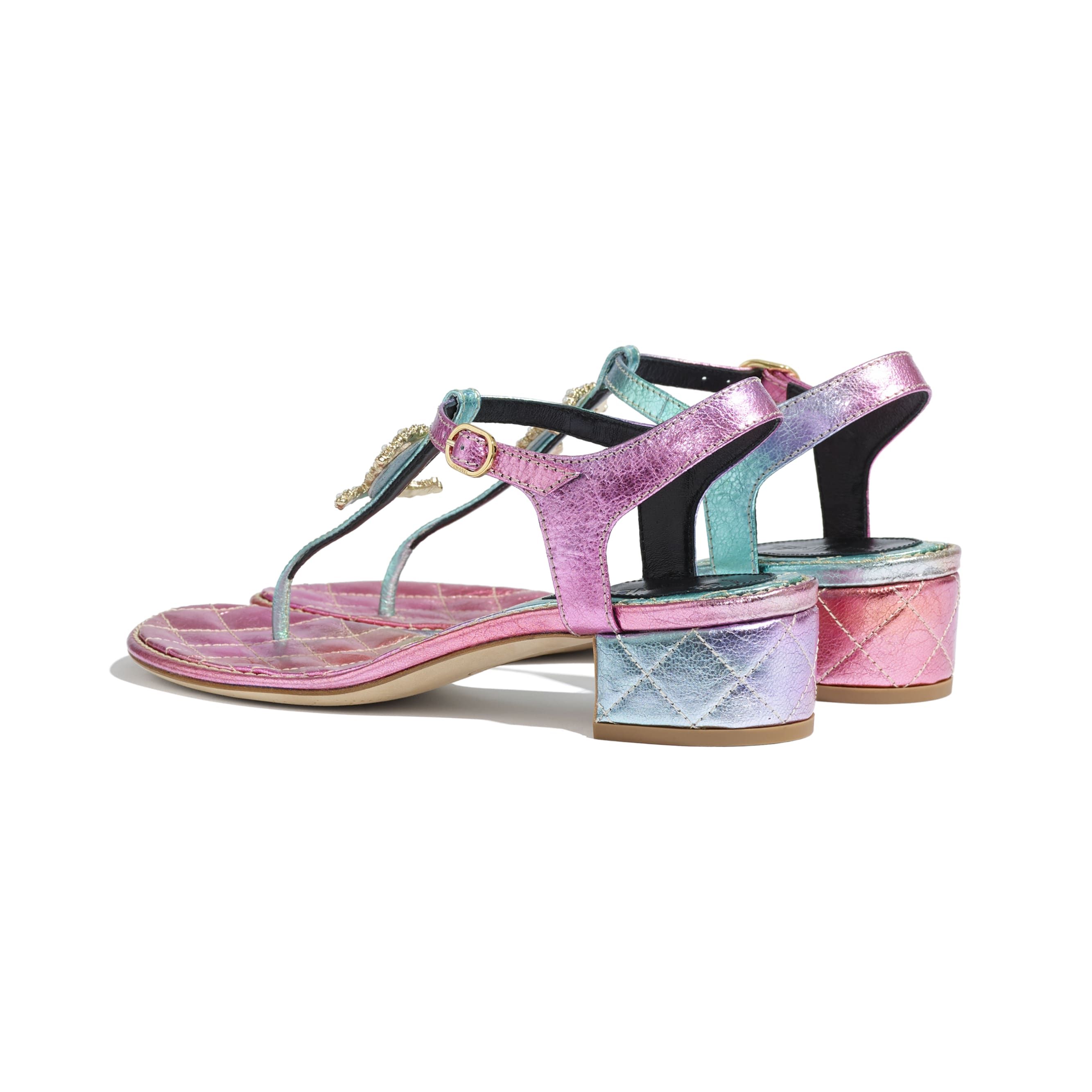 Sandals - Multicolour - Laminated Calfskin - CHANEL - Other view - see standard sized version