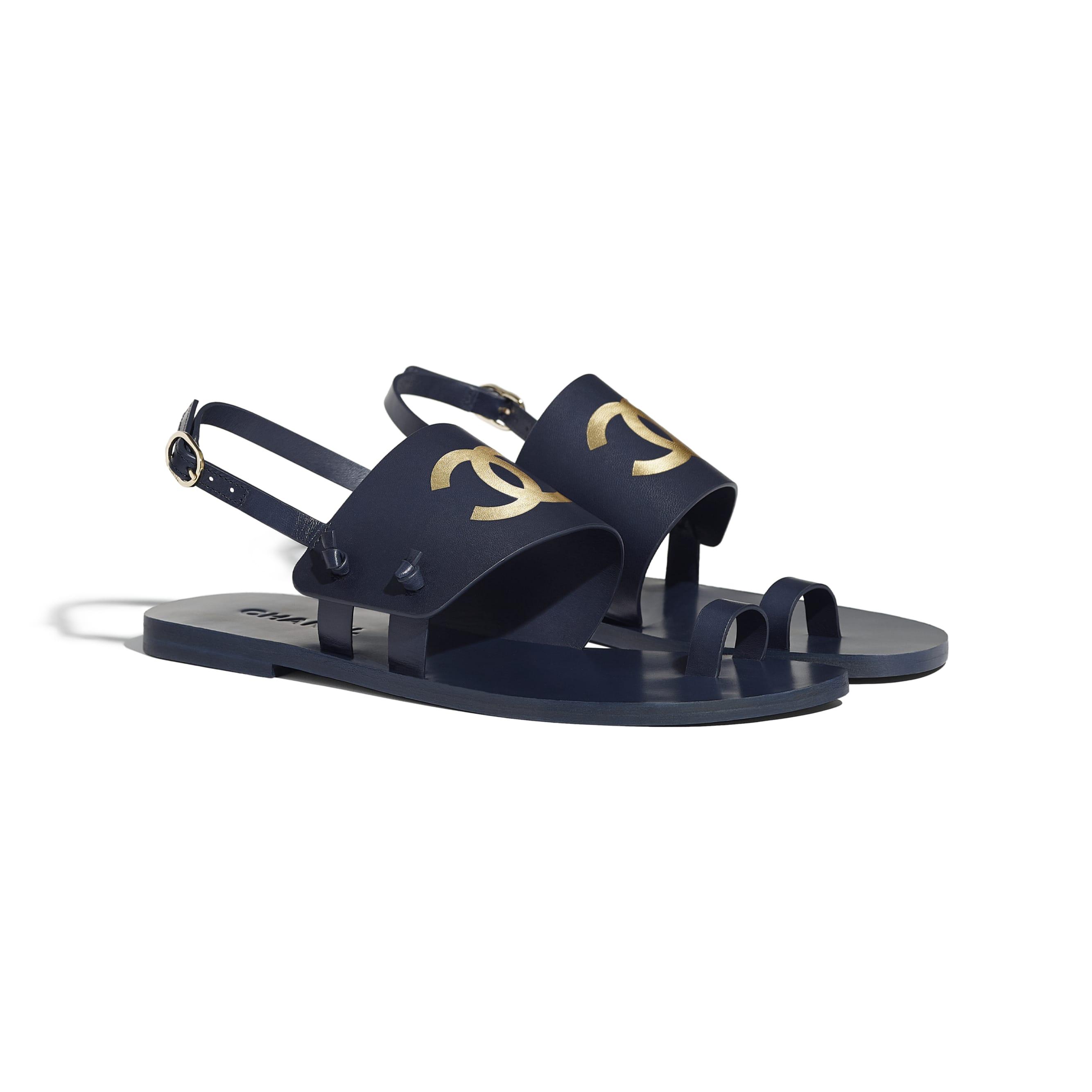 Sandals - Navy Blue - Goatskin - CHANEL - Alternative view - see standard sized version