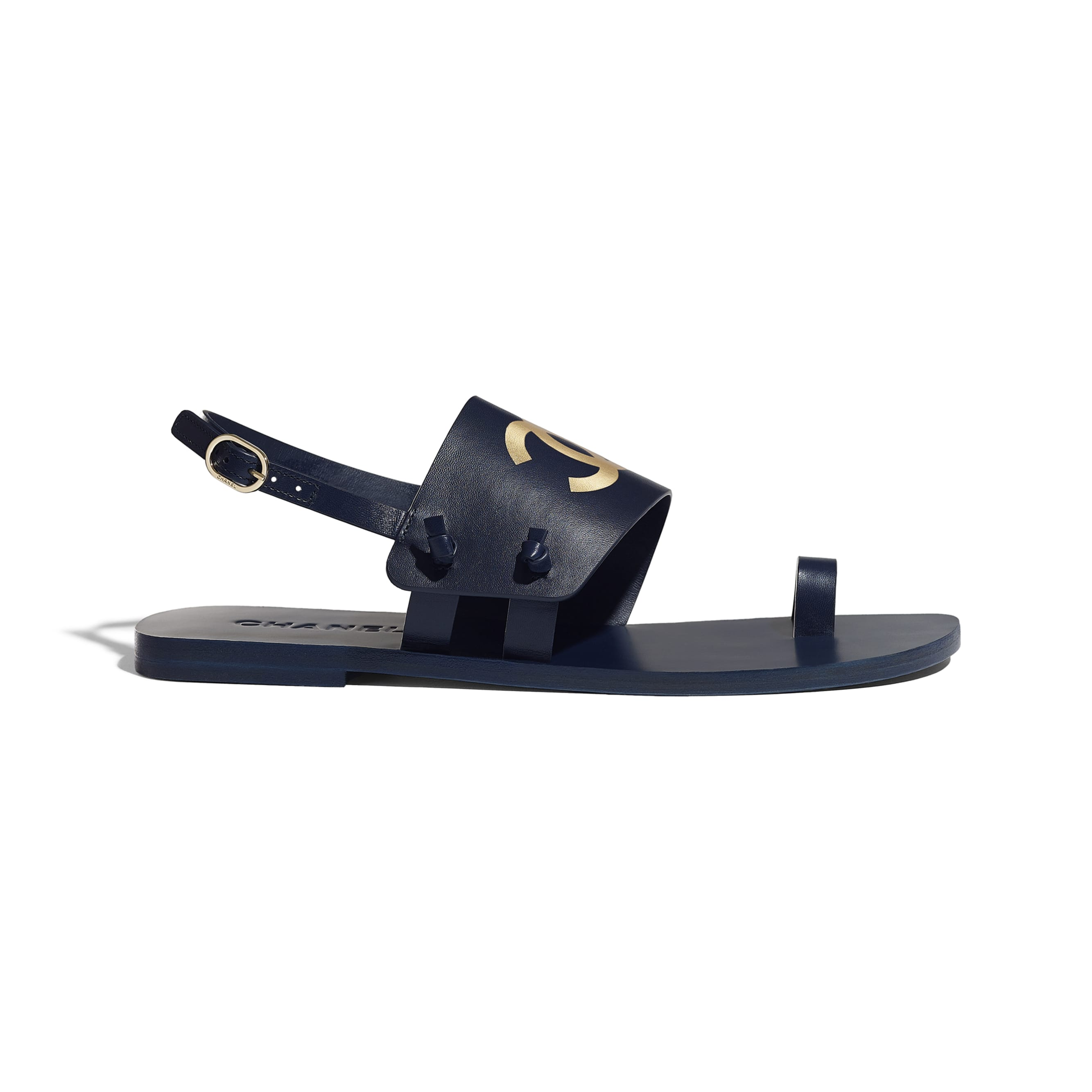 Sandals - Navy Blue - Goatskin - CHANEL - Default view - see standard sized version
