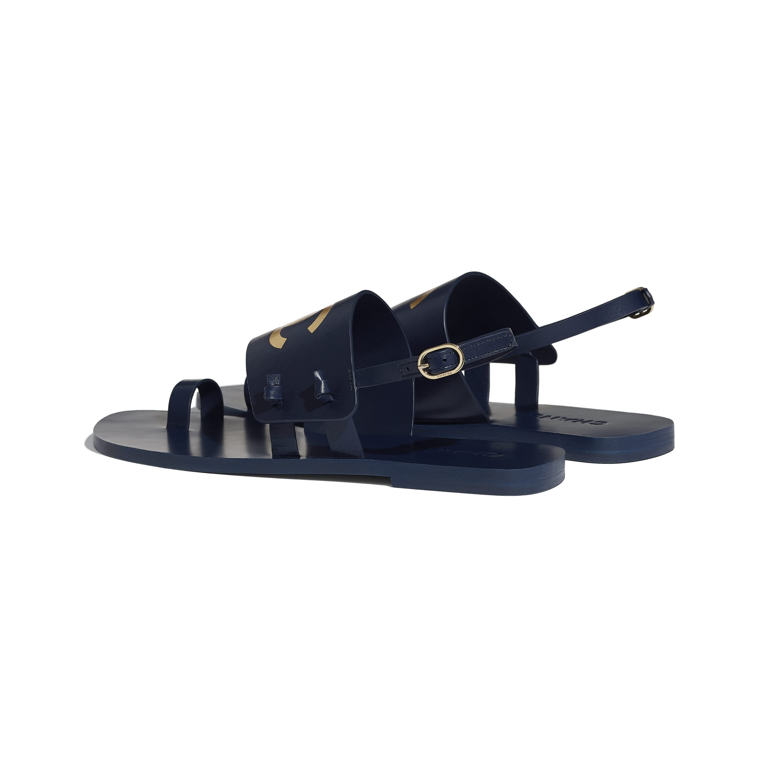 Sandals - Navy Blue - Goatskin - CHANEL - Other view - see standard sized version