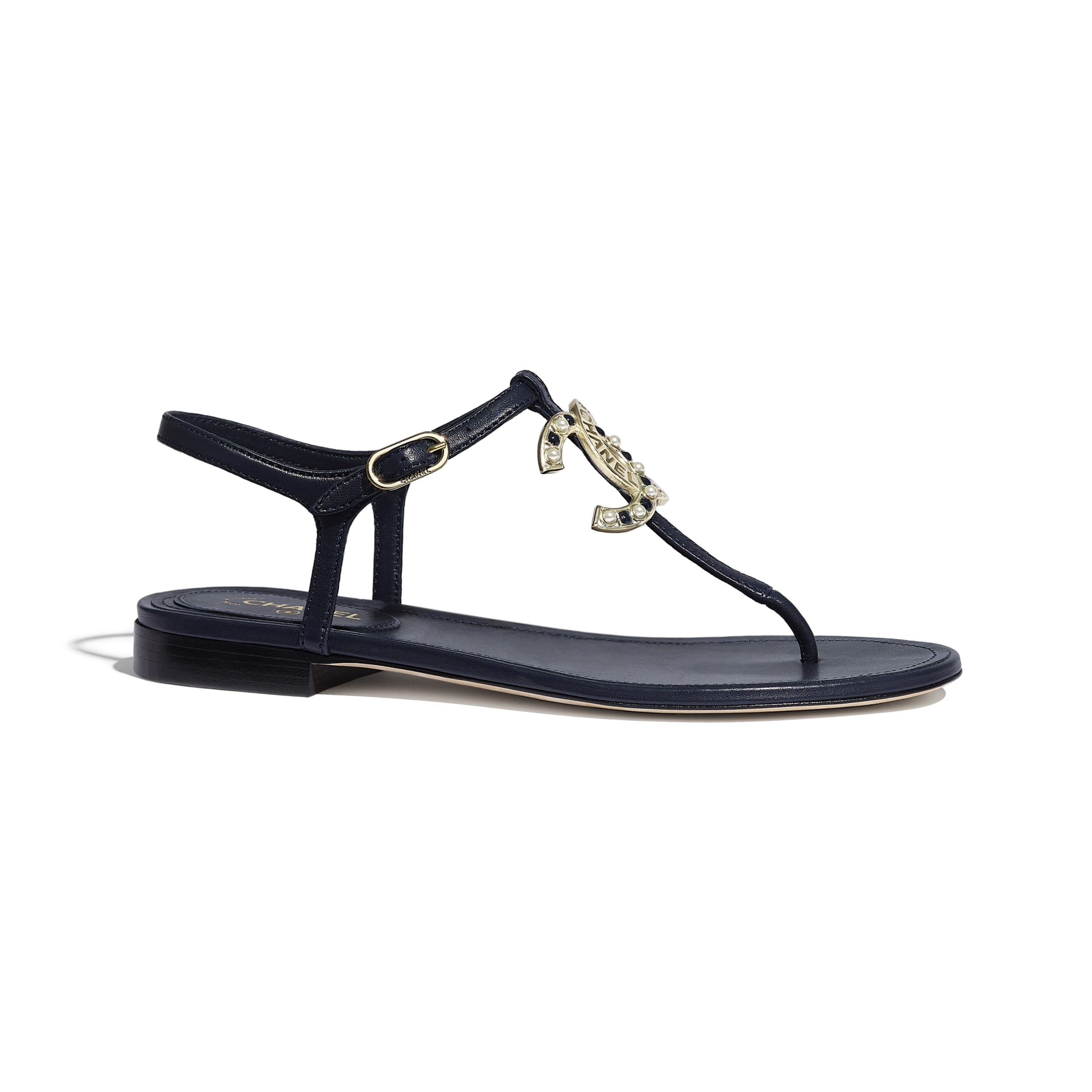 Sandals - Navy Blue - Lambskin - CHANEL - Default view - see standard sized version