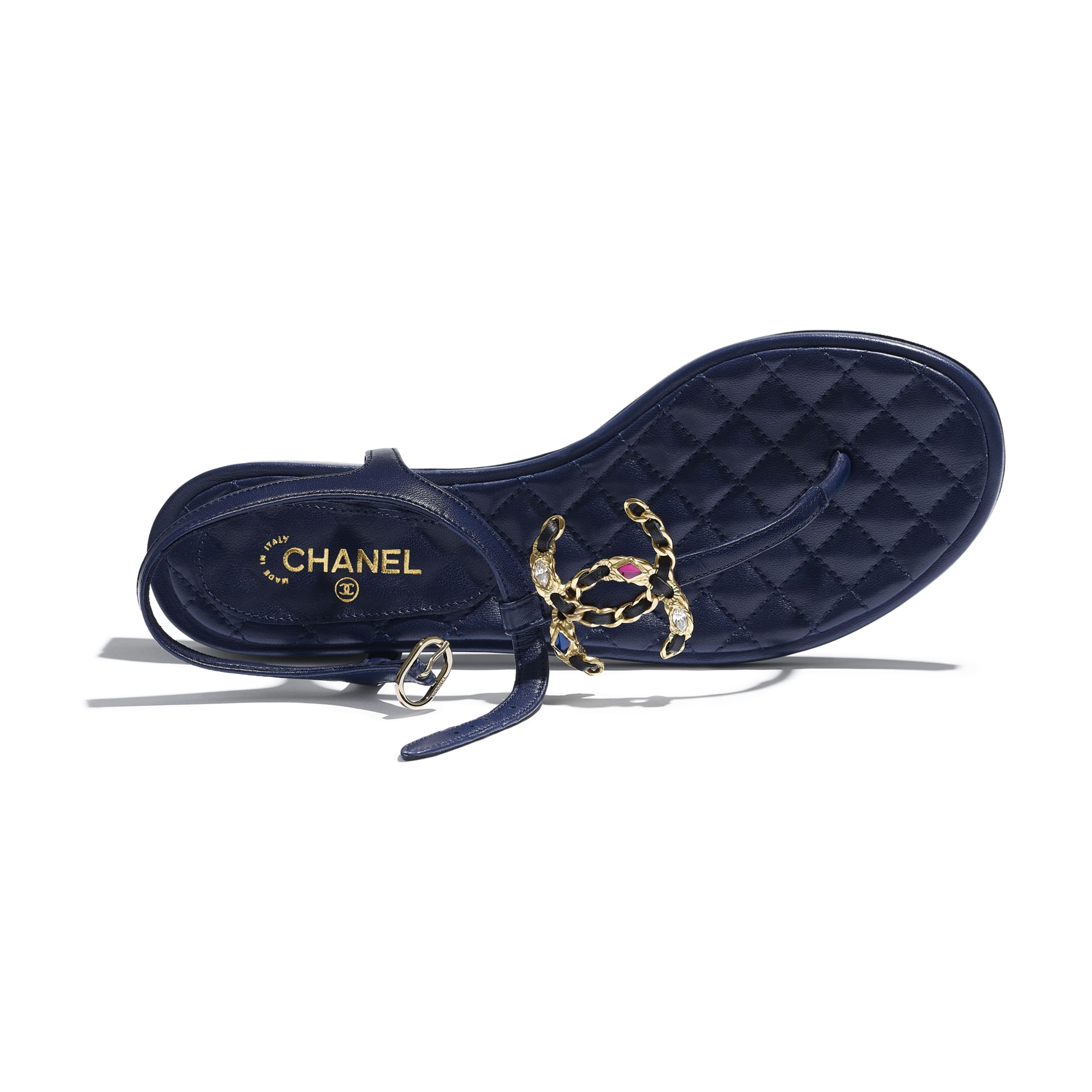 Sandals - Navy Blue - Lambskin - CHANEL - Extra view - see standard sized version