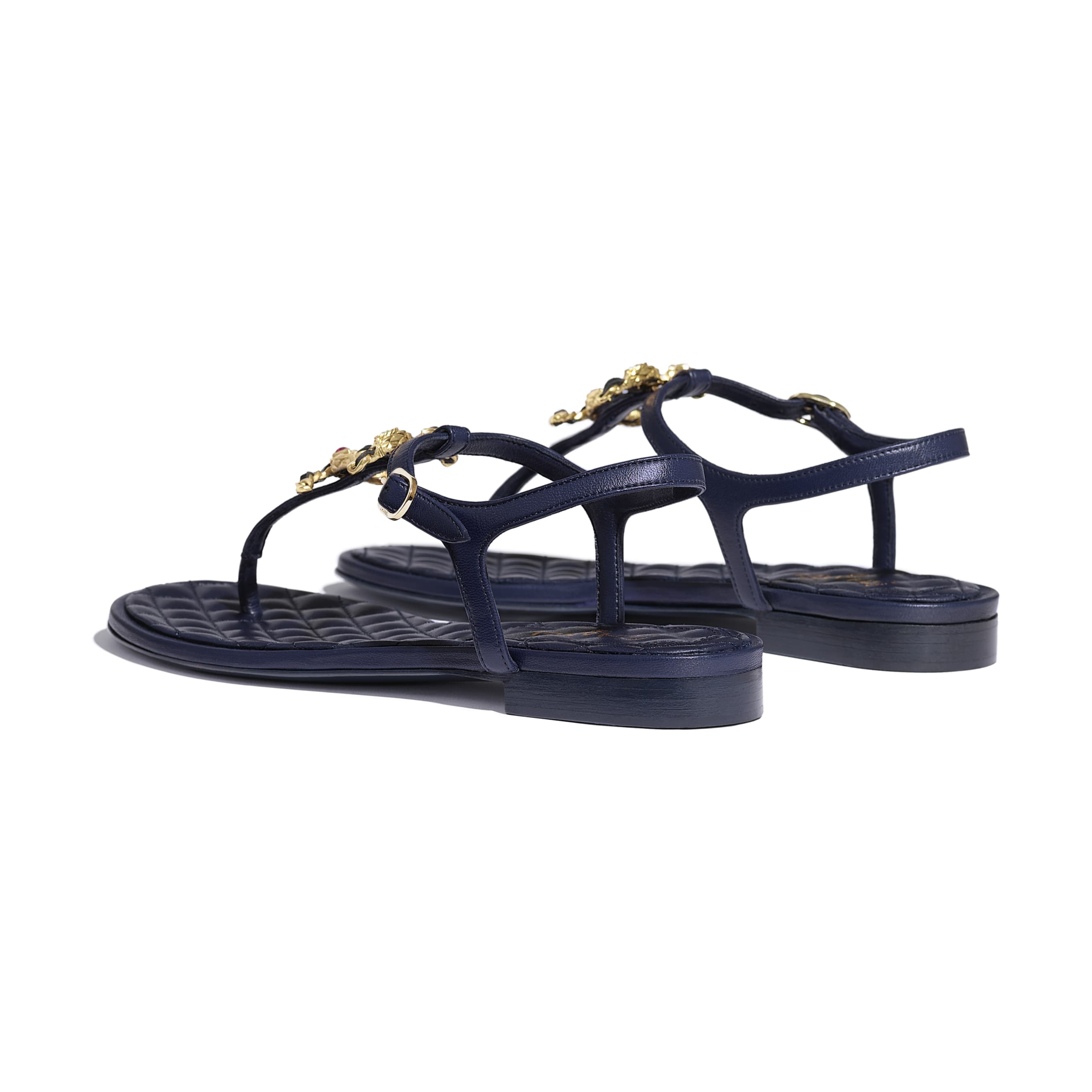 Sandals - Navy Blue - Lambskin - CHANEL - Other view - see standard sized version
