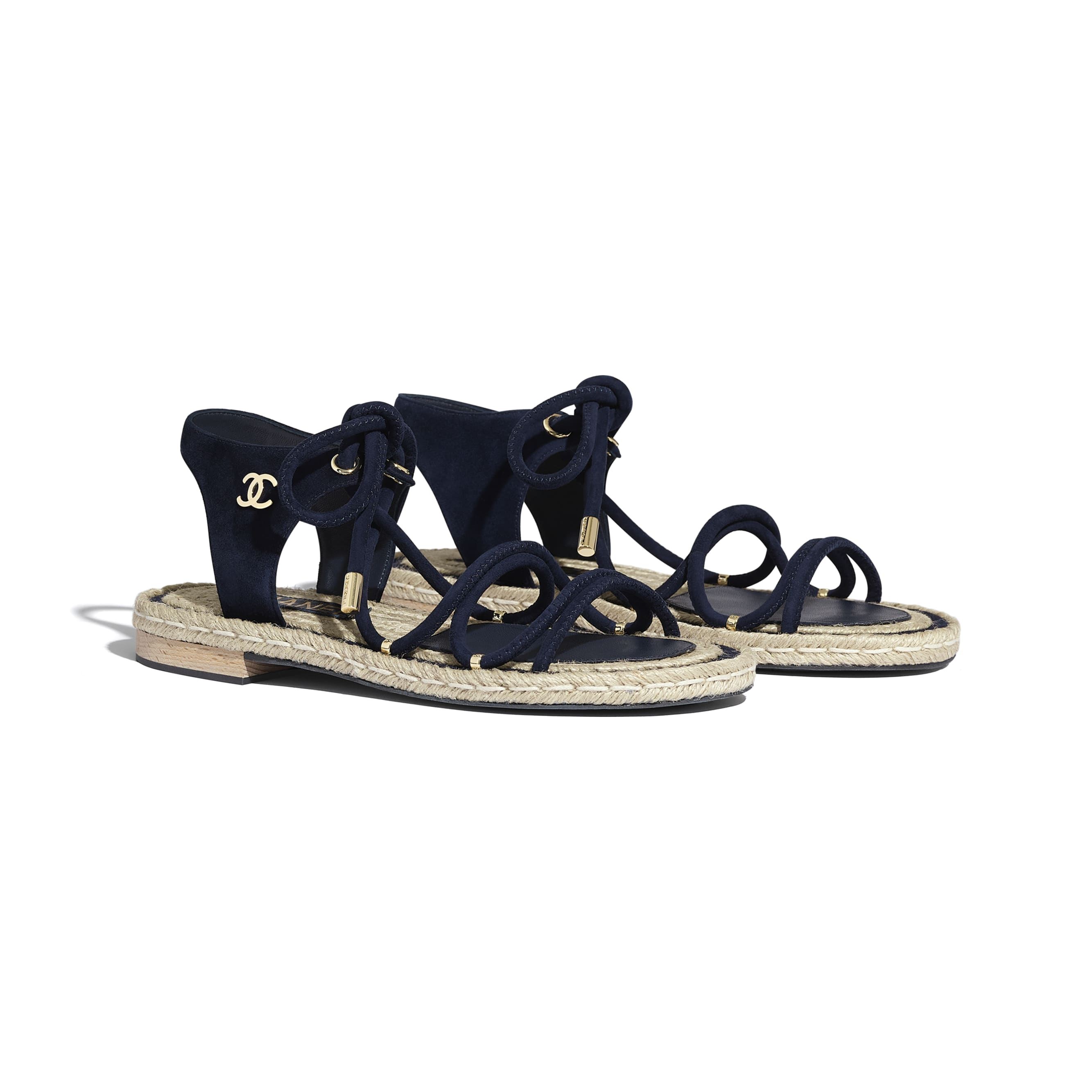 Sandals - Navy Blue - Suede Kidskin - CHANEL - Alternative view - see standard sized version