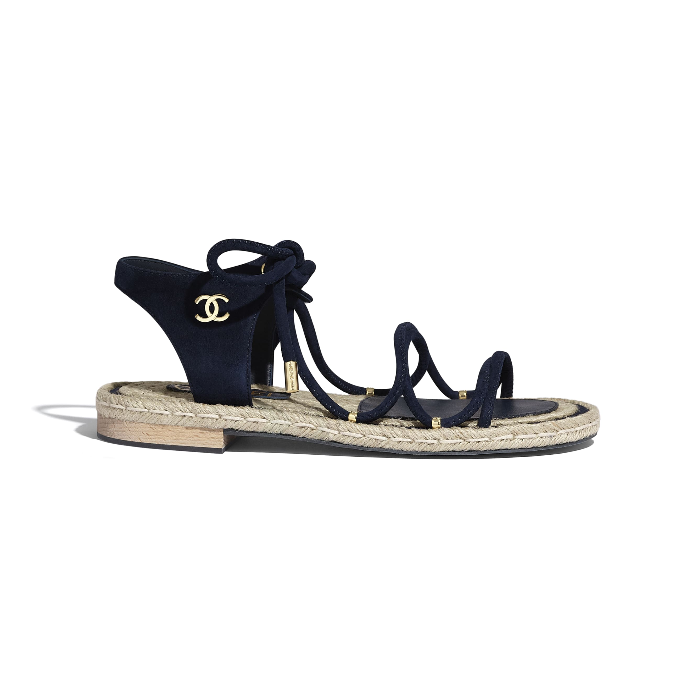 Sandals - Navy Blue - Suede Kidskin - CHANEL - Default view - see standard sized version