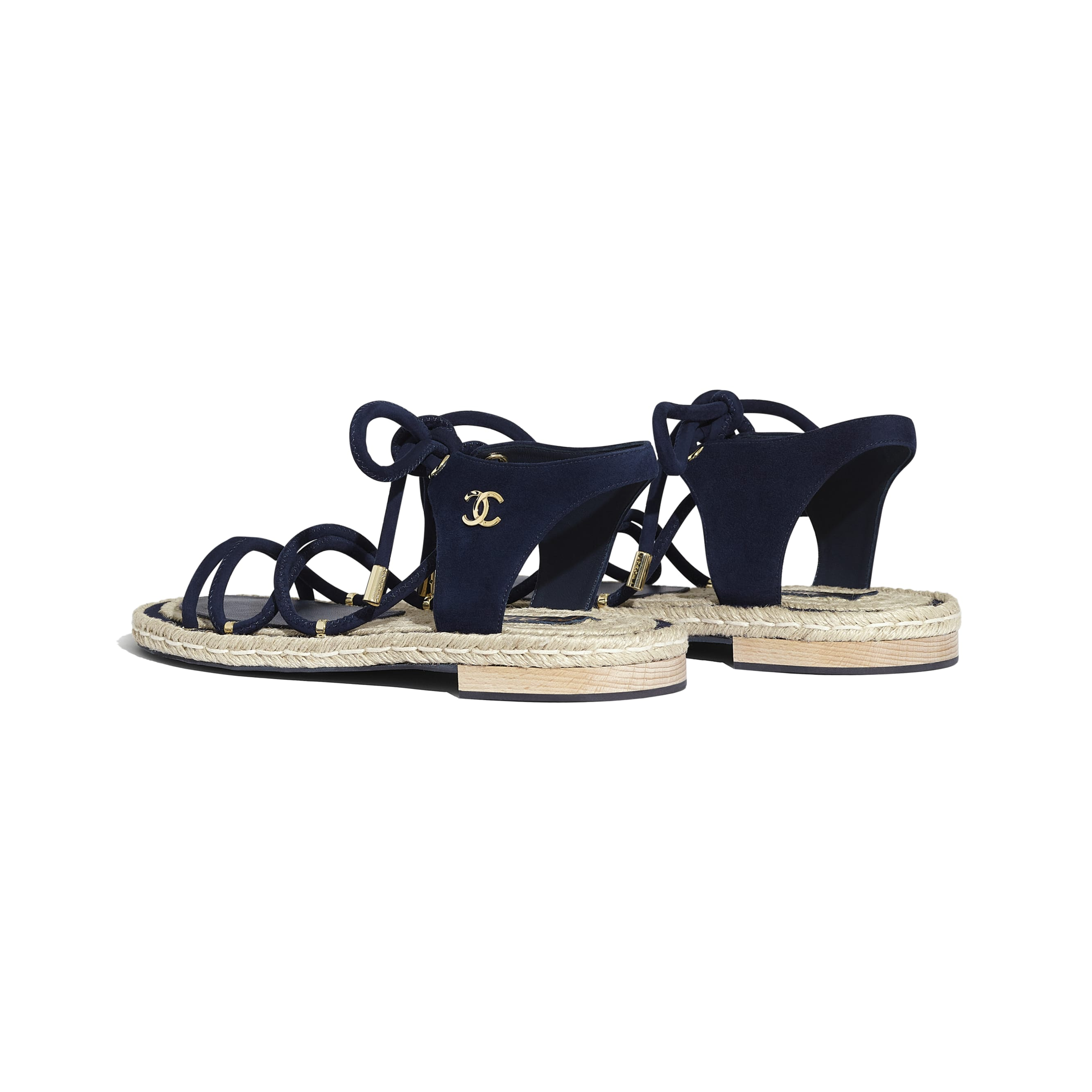 Sandals - Navy Blue - Suede Kidskin - CHANEL - Other view - see standard sized version