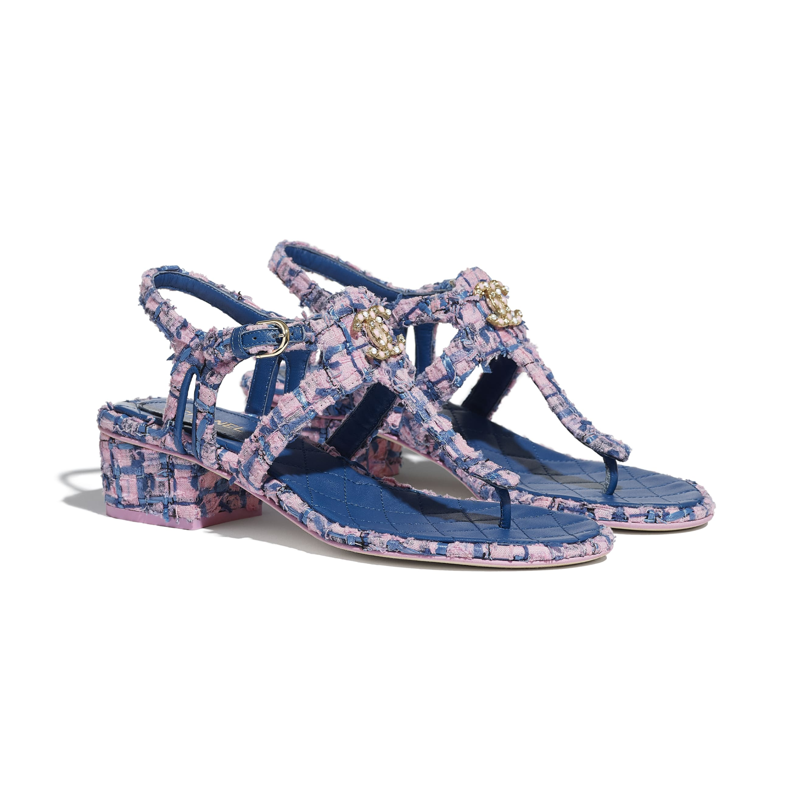Sandals - Pink, Blue & Navy Blue - Tweed - CHANEL - Alternative view - see standard sized version