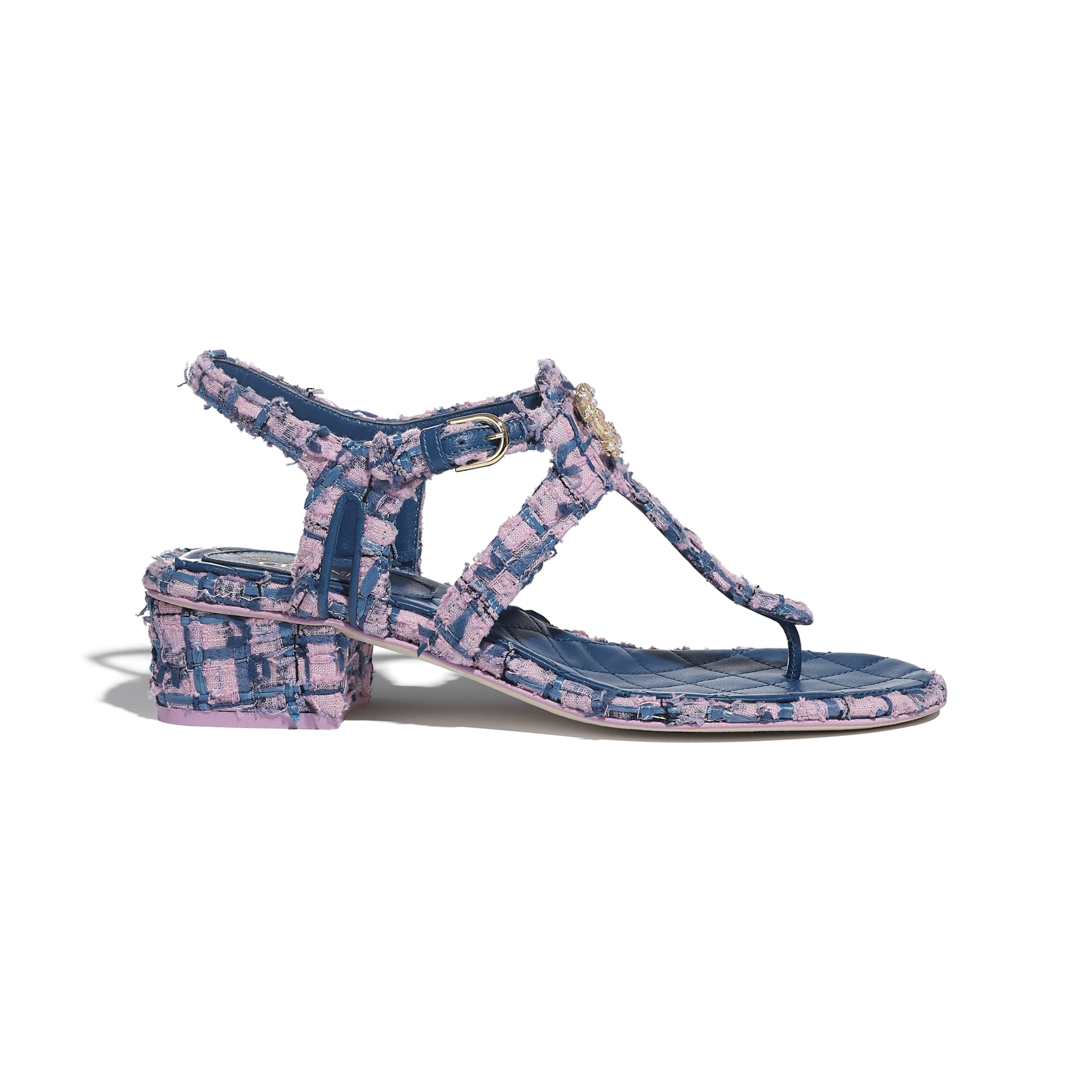 Sandals - Pink, Blue & Navy Blue - Tweed - CHANEL - Default view - see standard sized version