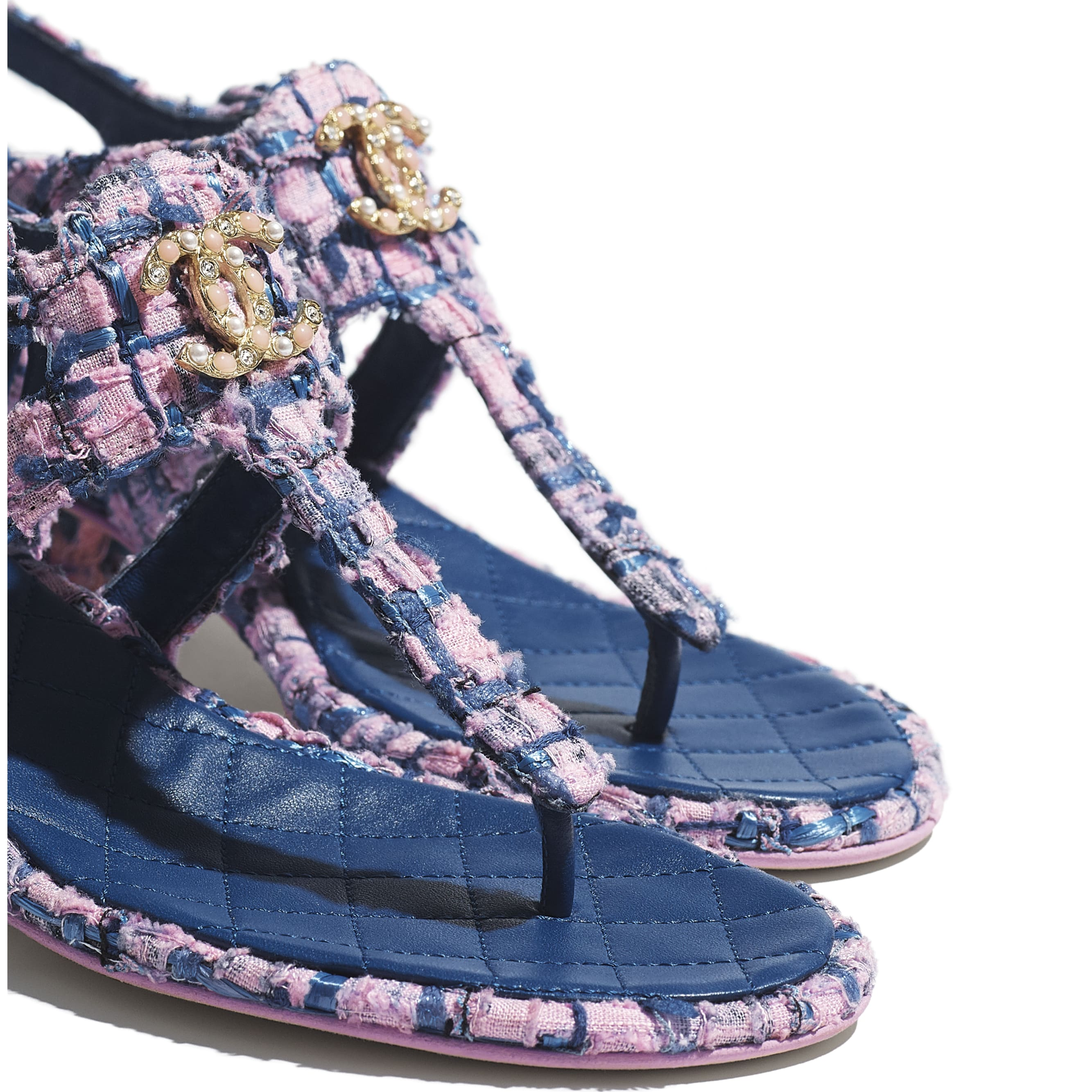Sandals - Pink, Blue & Navy Blue - Tweed - CHANEL - Extra view - see standard sized version