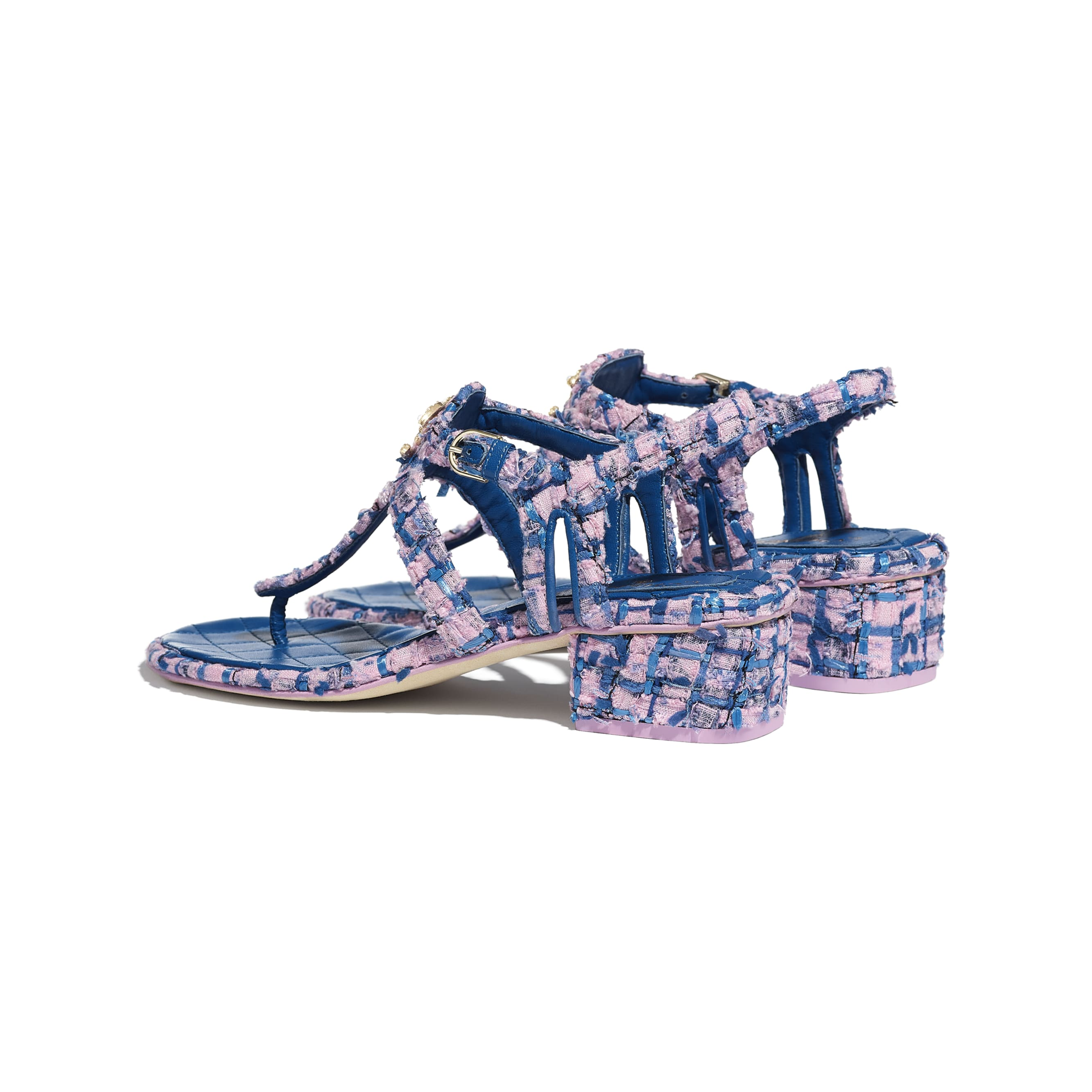 Sandals - Pink, Blue & Navy Blue - Tweed - CHANEL - Other view - see standard sized version