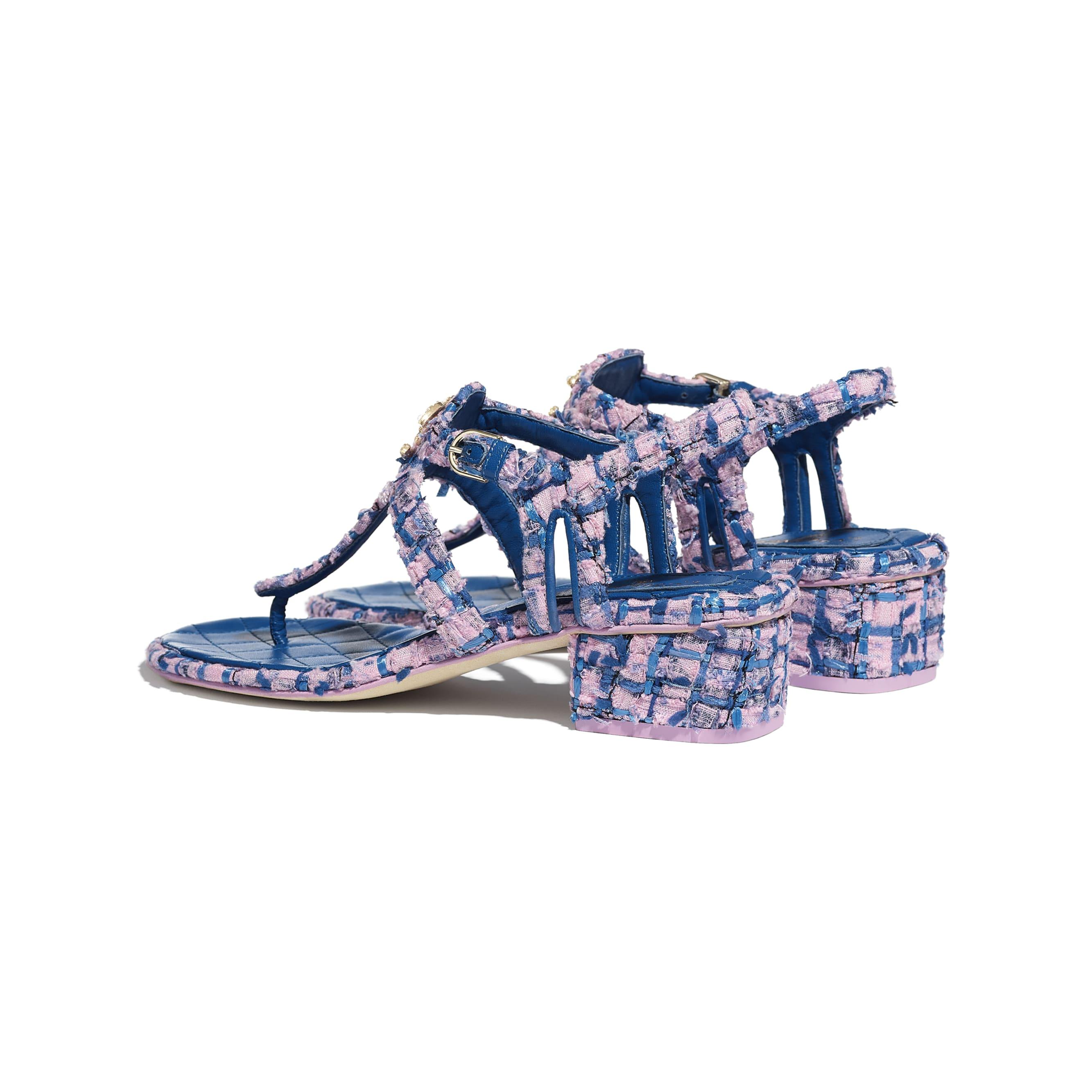 Sandálias - Pink, Blue & Navy Blue - Tweed - CHANEL - Outra vista - ver a versão em tamanho standard