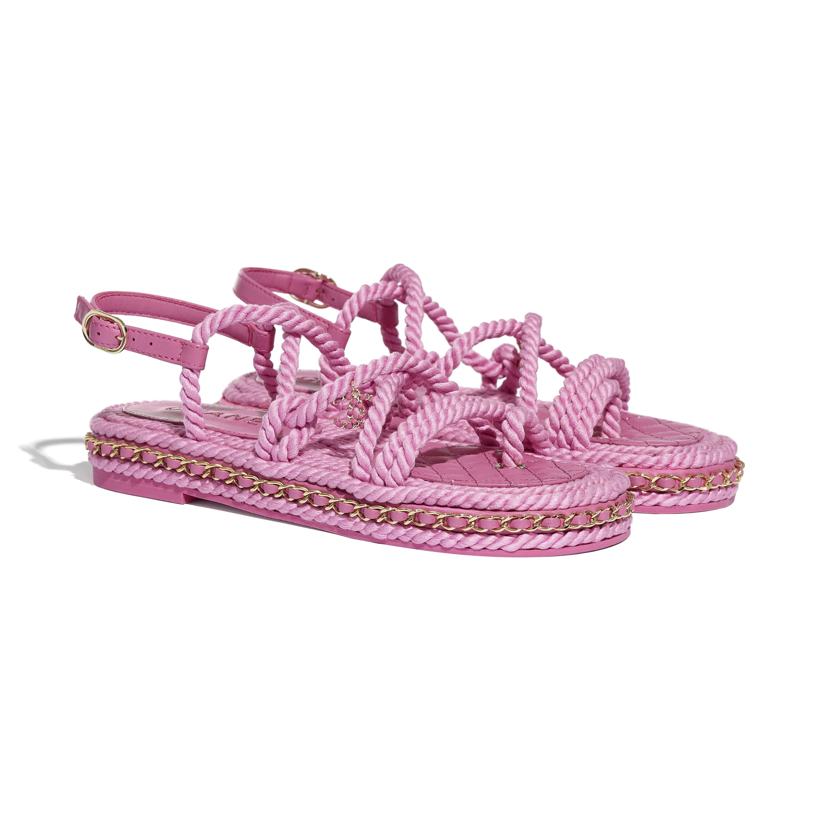 Sandals - Pink - Cord - CHANEL - Alternative view - see standard sized version
