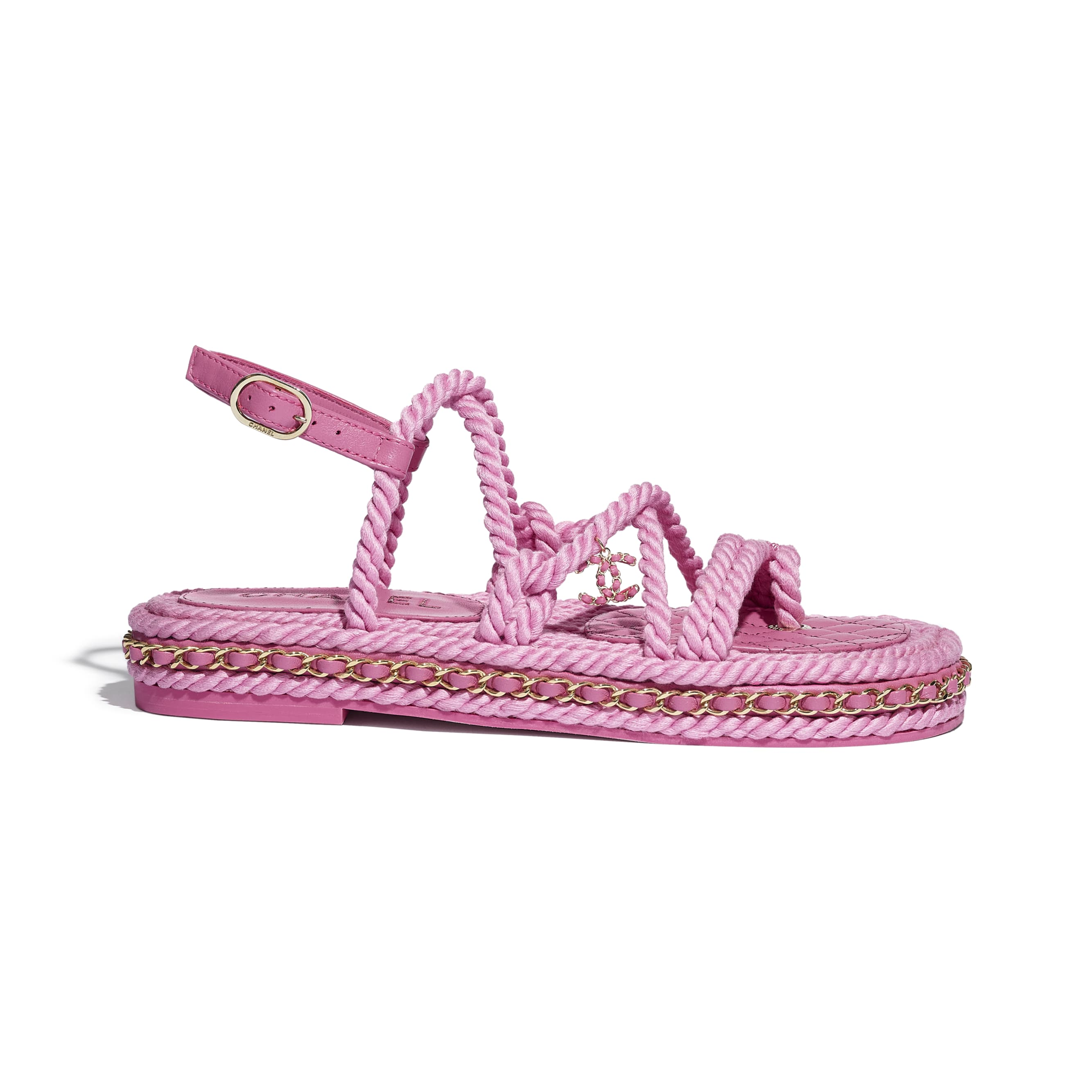 Sandals - Pink - Cord - CHANEL - Default view - see standard sized version