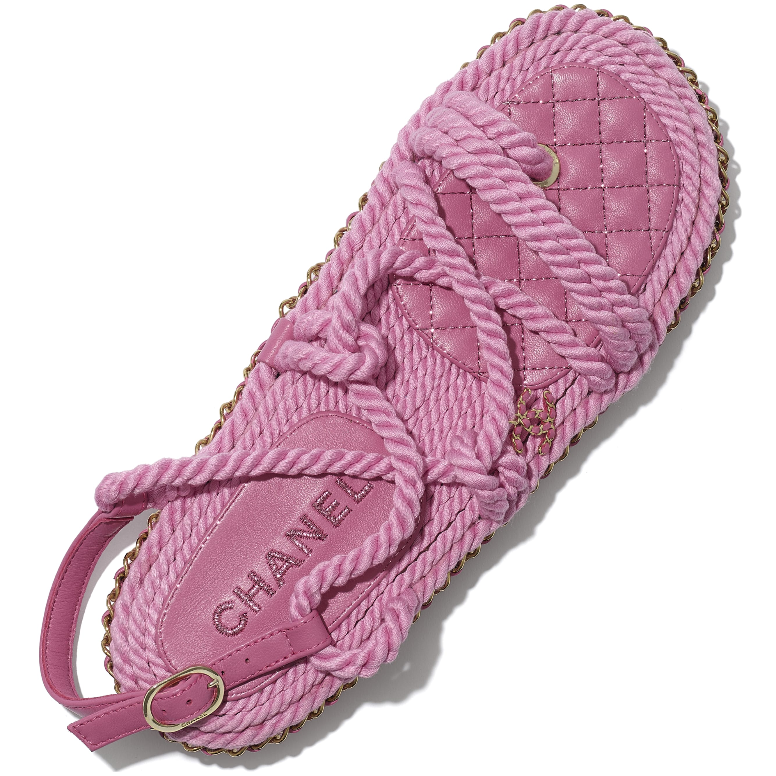 Sandals - Pink - Cord - CHANEL - Extra view - see standard sized version