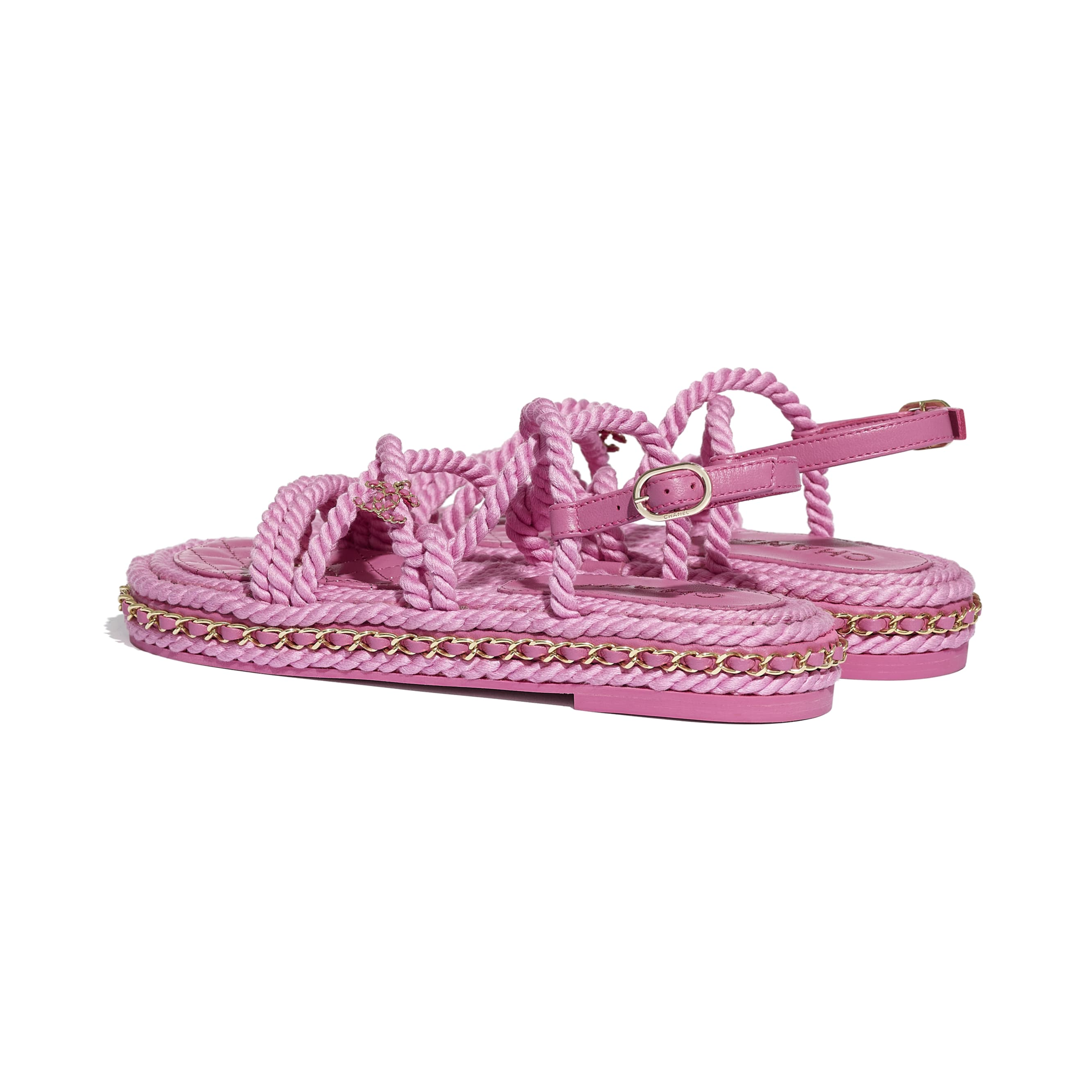 Sandals - Pink - Cord - CHANEL - Other view - see standard sized version