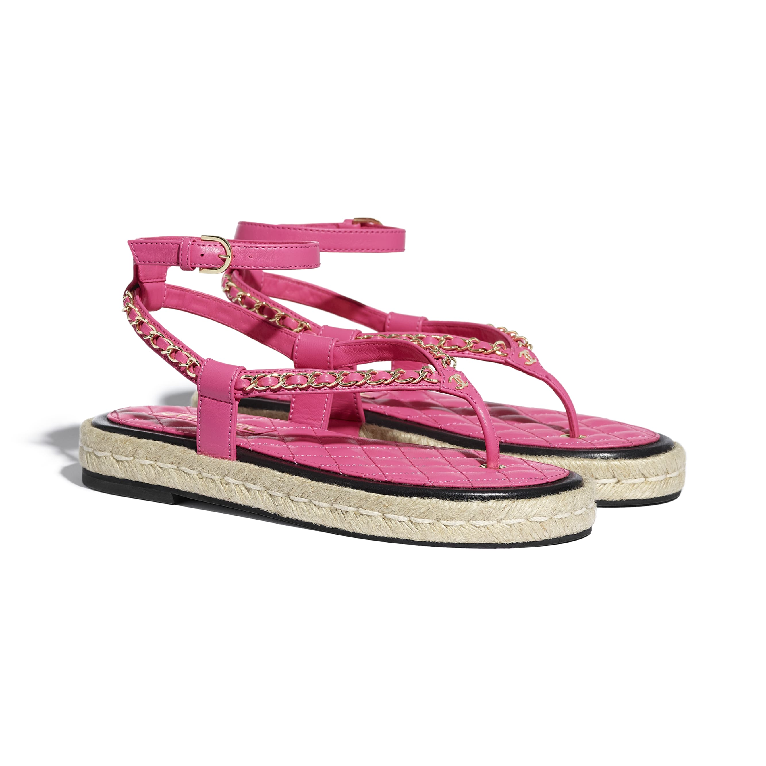 Sandals - Pink - Lambskin - CHANEL - Alternative view - see standard sized version