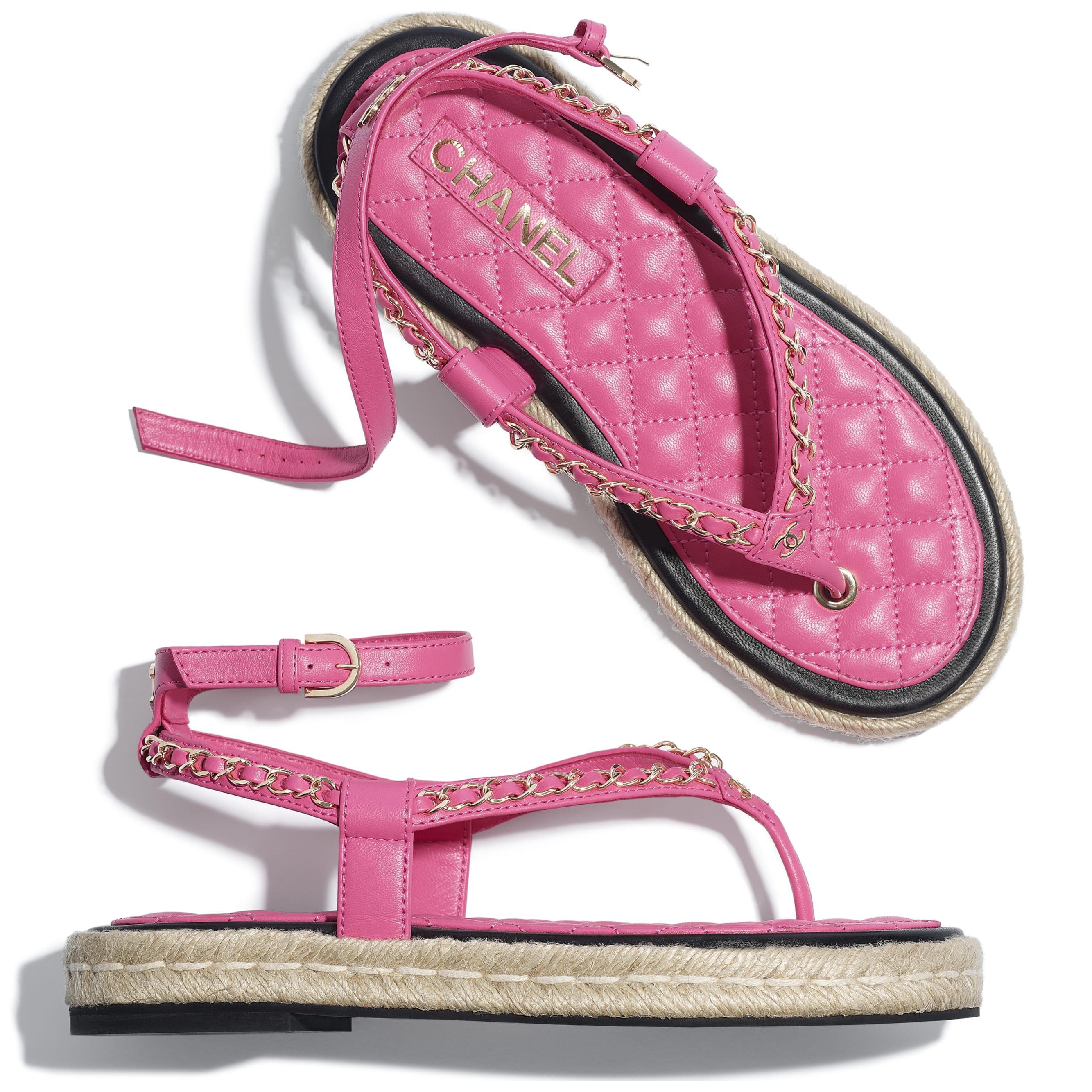 Sandals - Pink - Lambskin - CHANEL - Extra view - see standard sized version