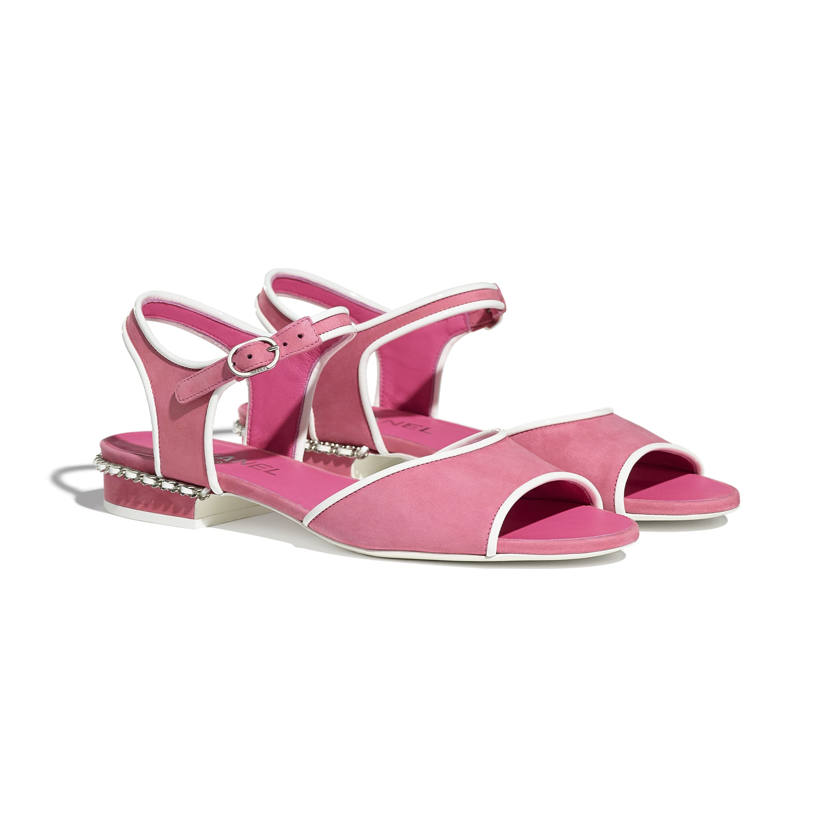 Sandals - Pink - Matte Velvet Calfskin - CHANEL - Alternative view - see standard sized version