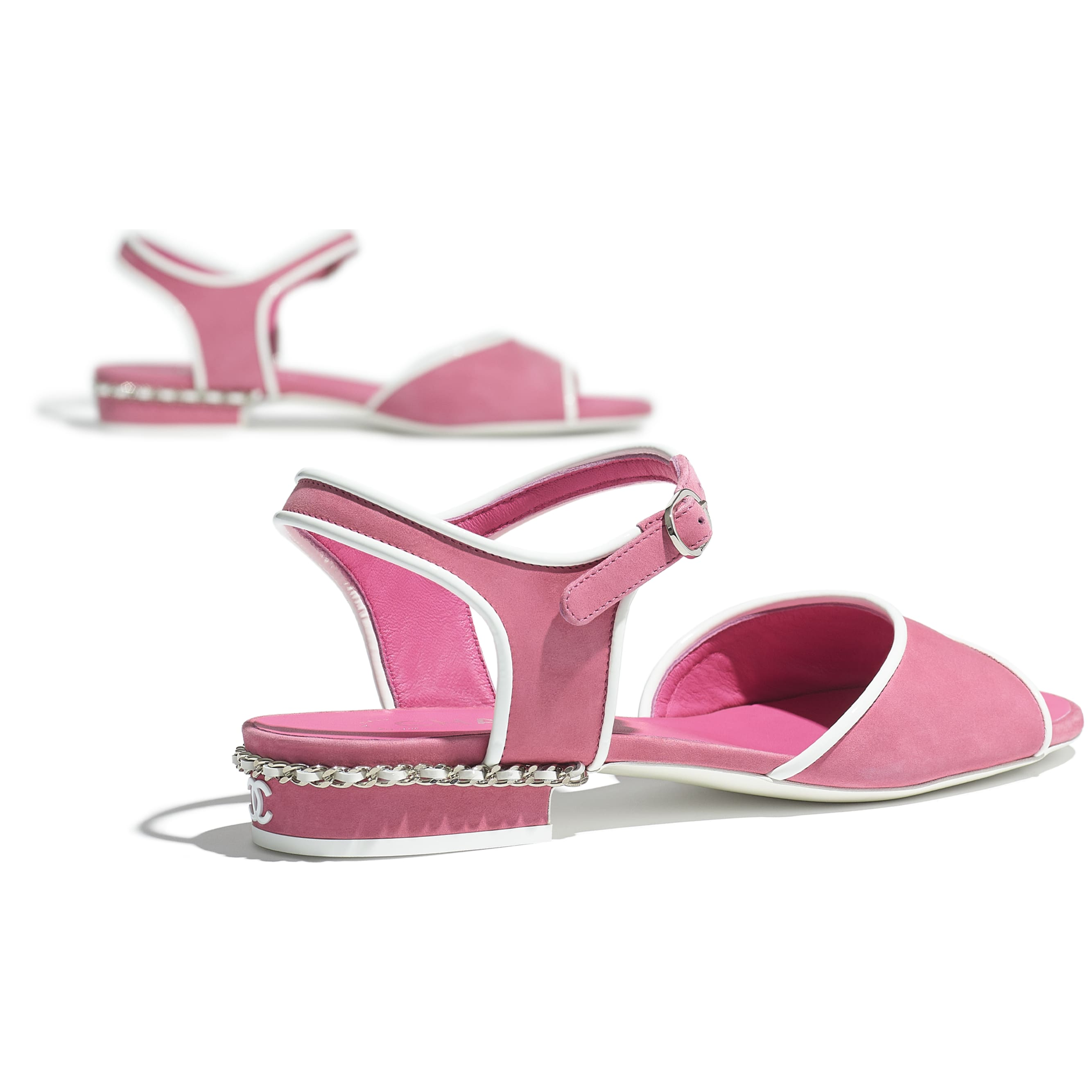 Sandals - Pink - Matte Velvet Calfskin - CHANEL - Extra view - see standard sized version