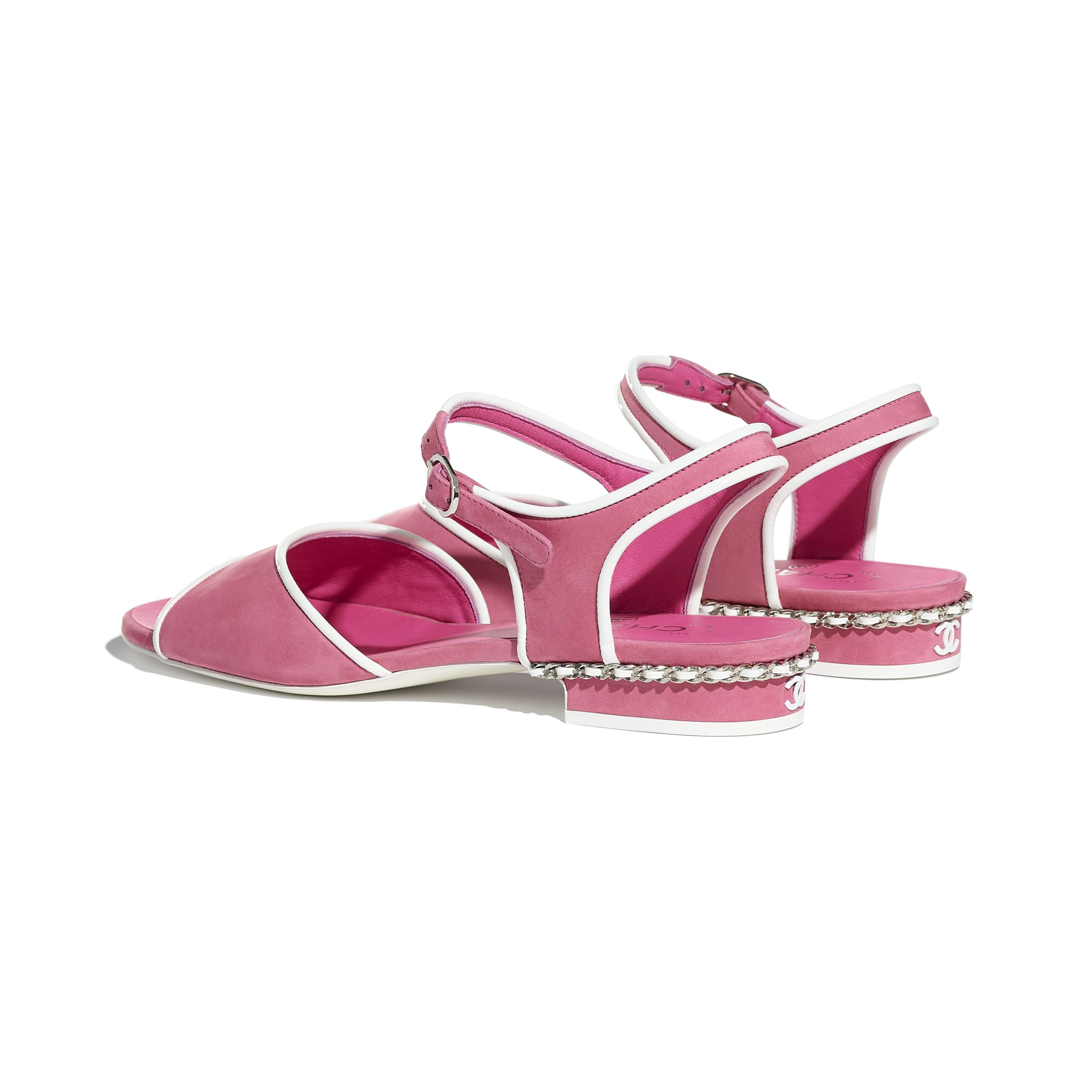Sandals - Pink - Matte Velvet Calfskin - CHANEL - Other view - see standard sized version
