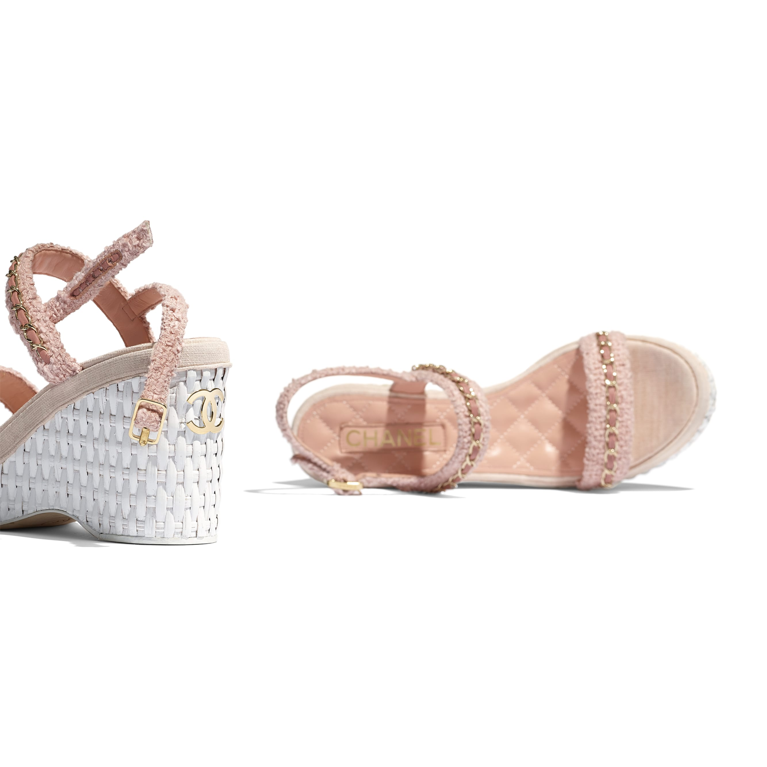 Sandals - Pink - Tweed - CHANEL - Extra view - see standard sized version