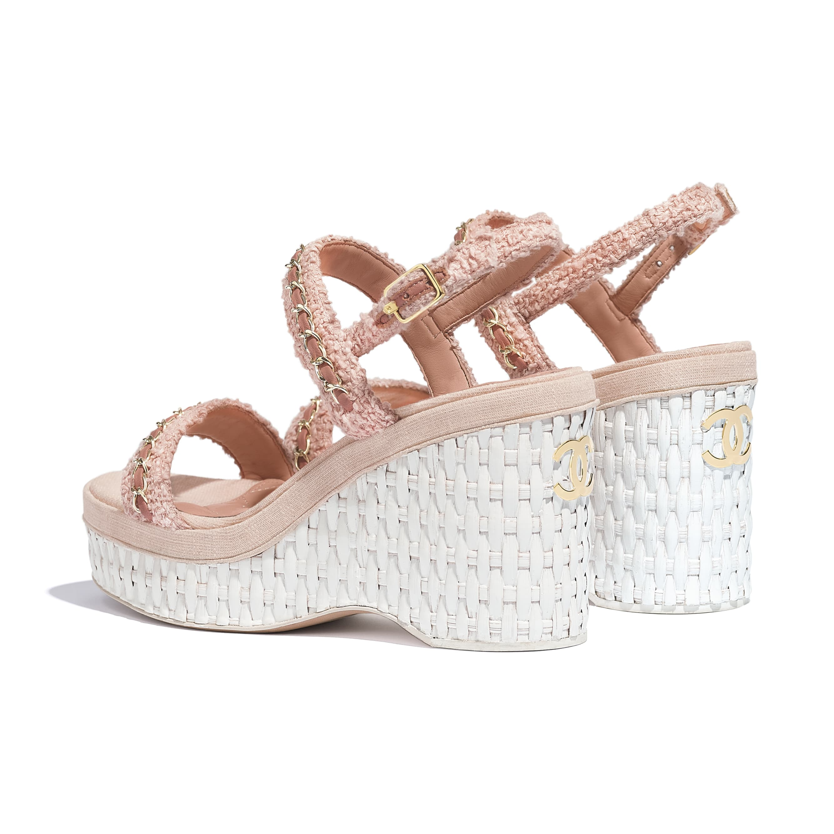 Sandals - Pink - Tweed - CHANEL - Other view - see standard sized version