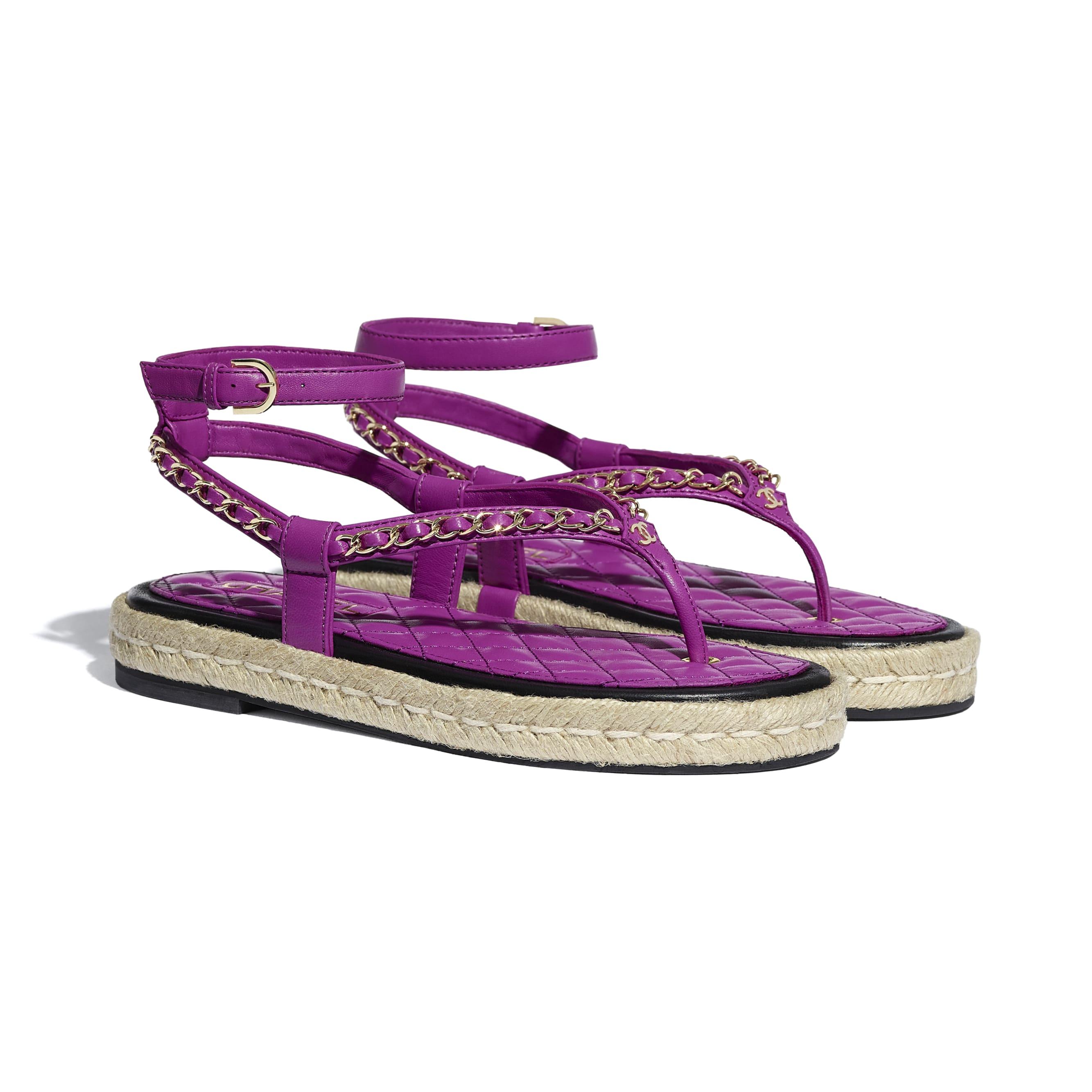 Sandals - Purple - Lambskin - CHANEL - Alternative view - see standard sized version