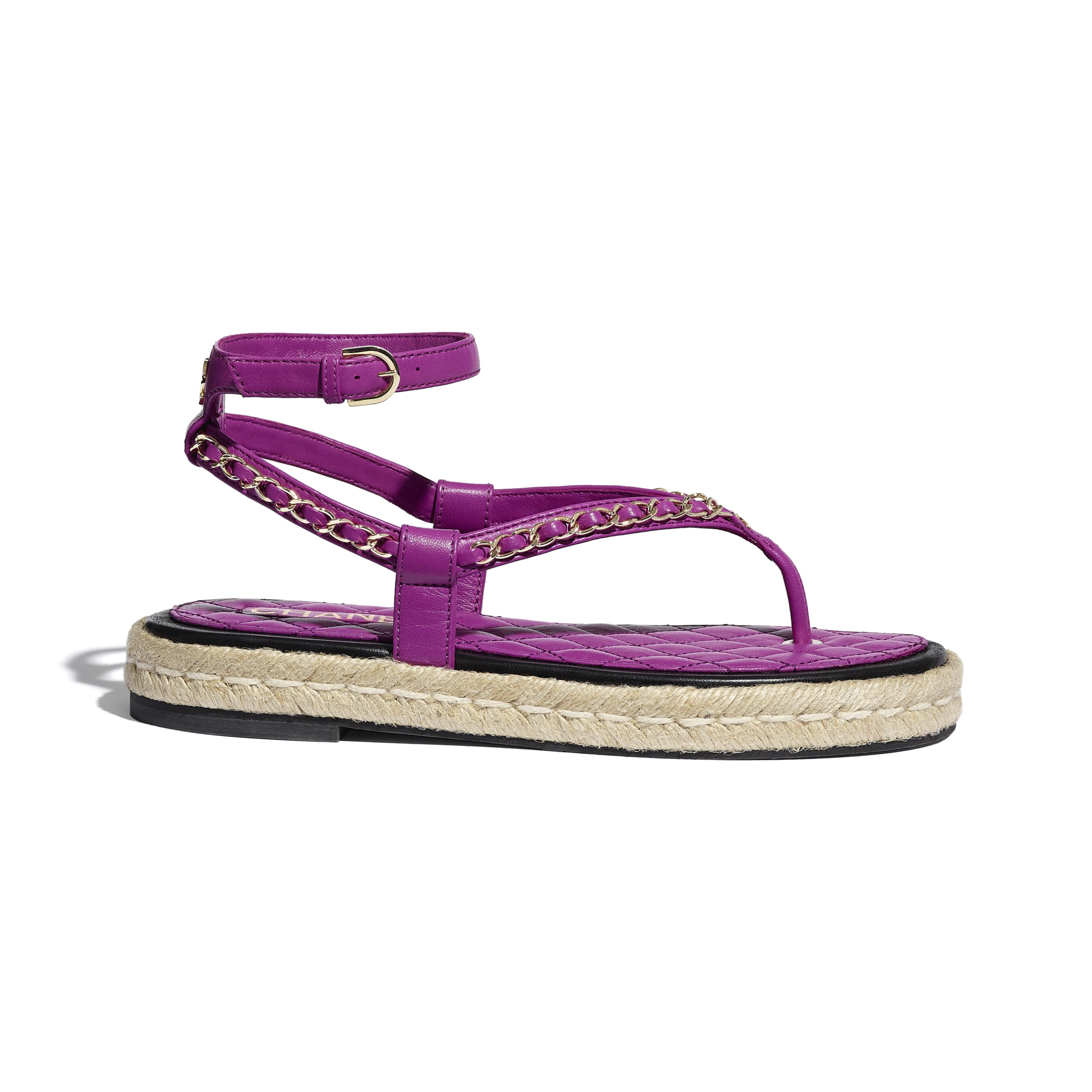 Sandals - Purple - Lambskin - CHANEL - Default view - see standard sized version