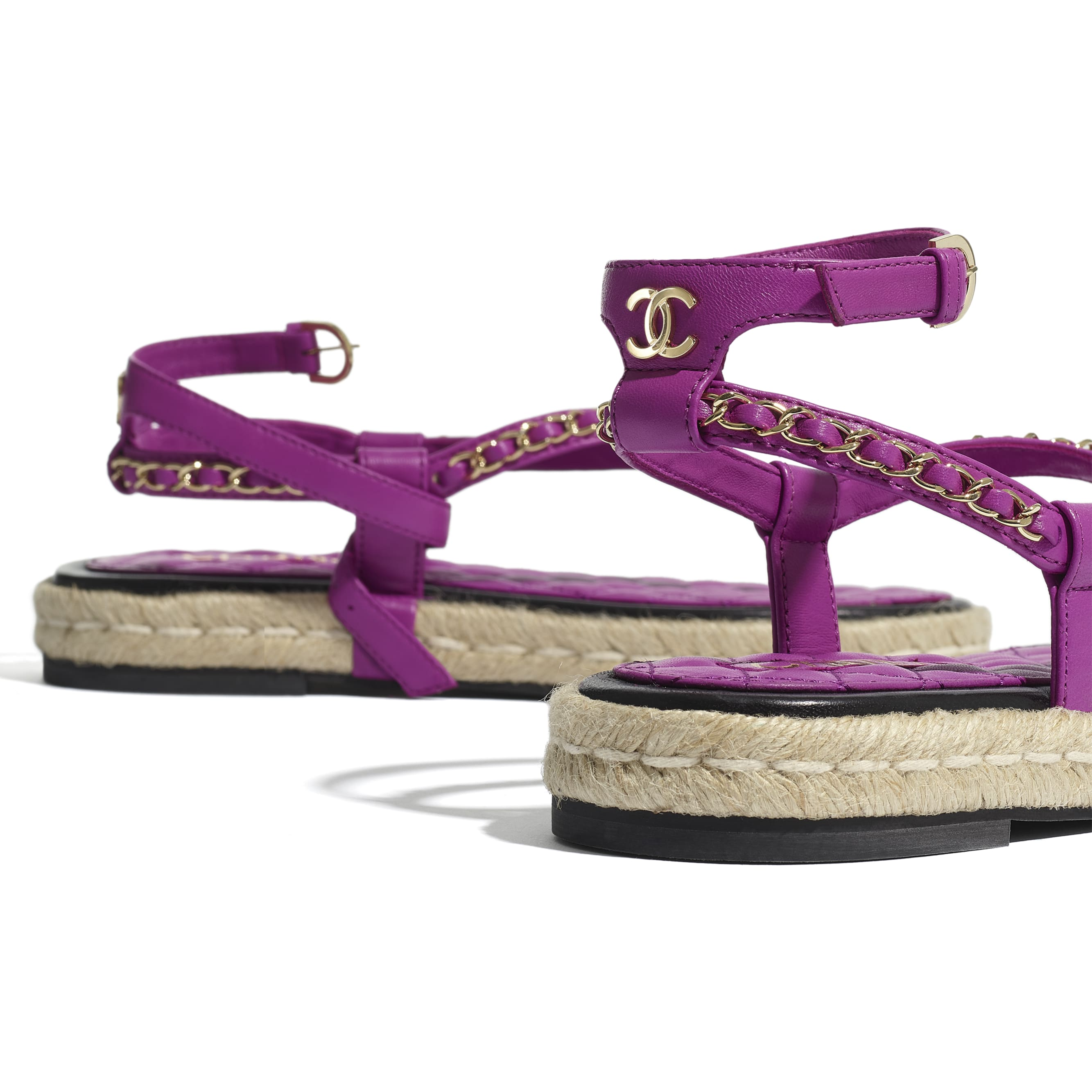 Sandals - Purple - Lambskin - CHANEL - Extra view - see standard sized version