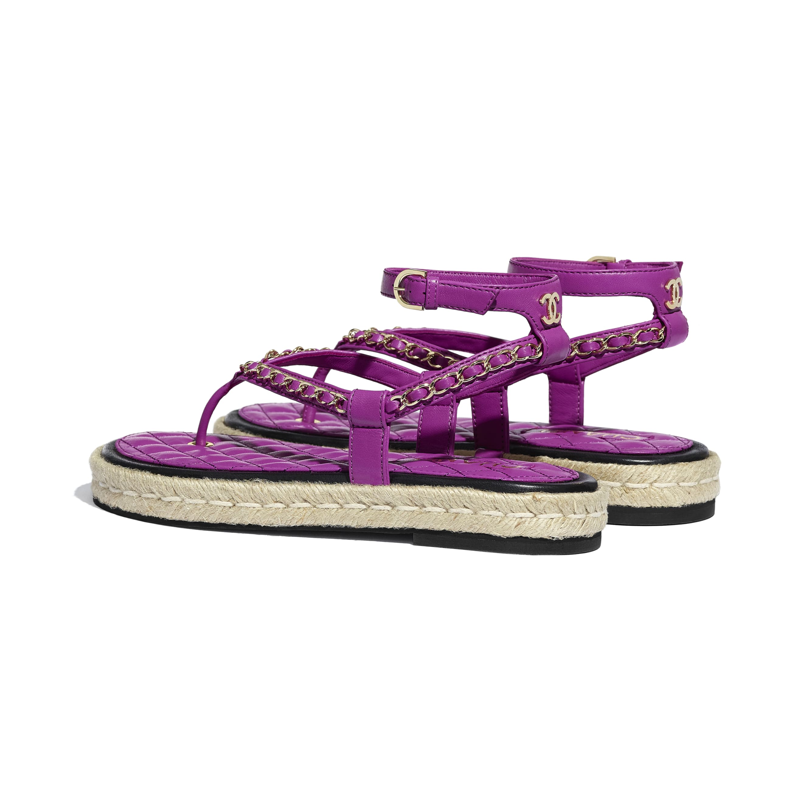Sandals - Purple - Lambskin - CHANEL - Other view - see standard sized version