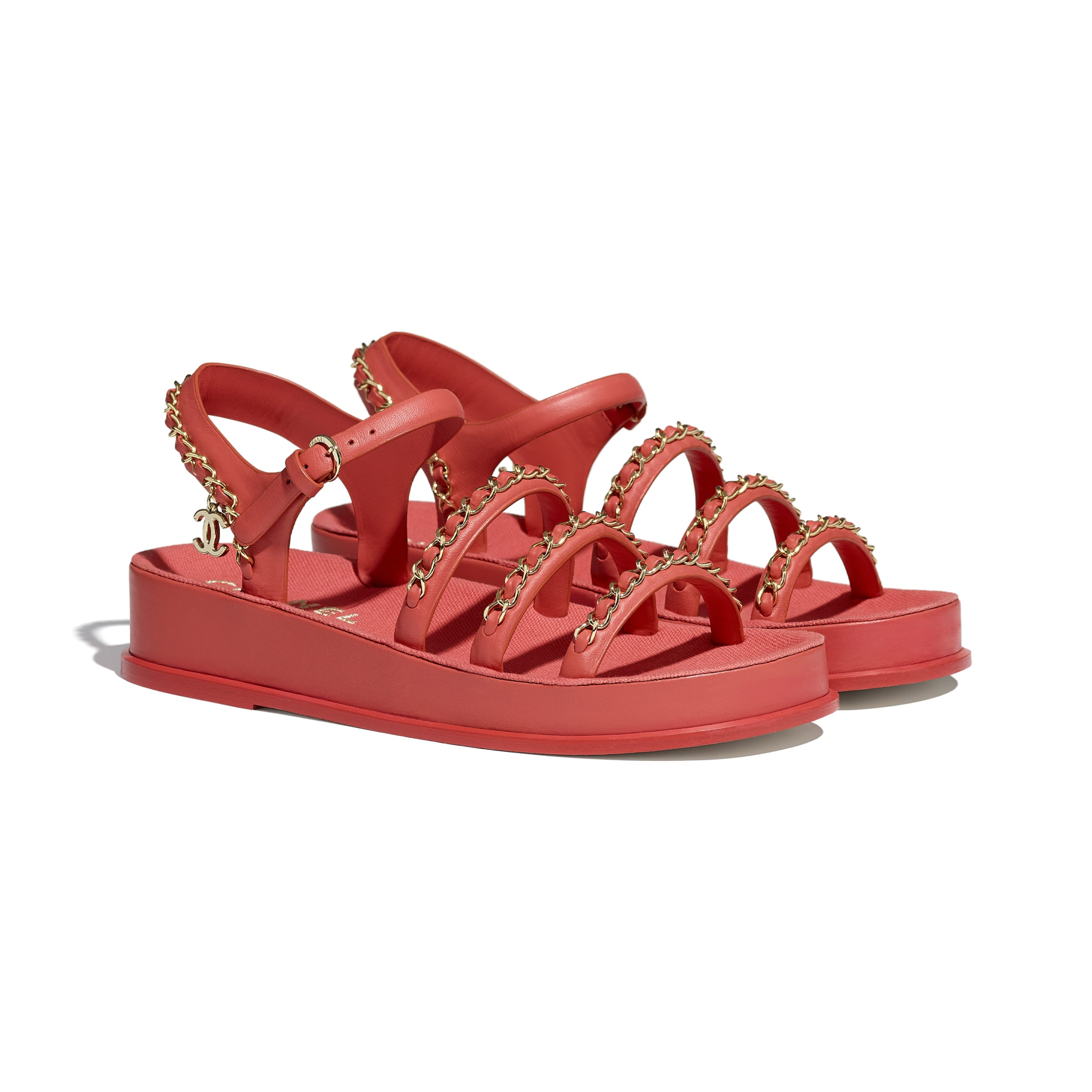 Sandals - Red - Calfskin - CHANEL - Alternative view - see standard sized version