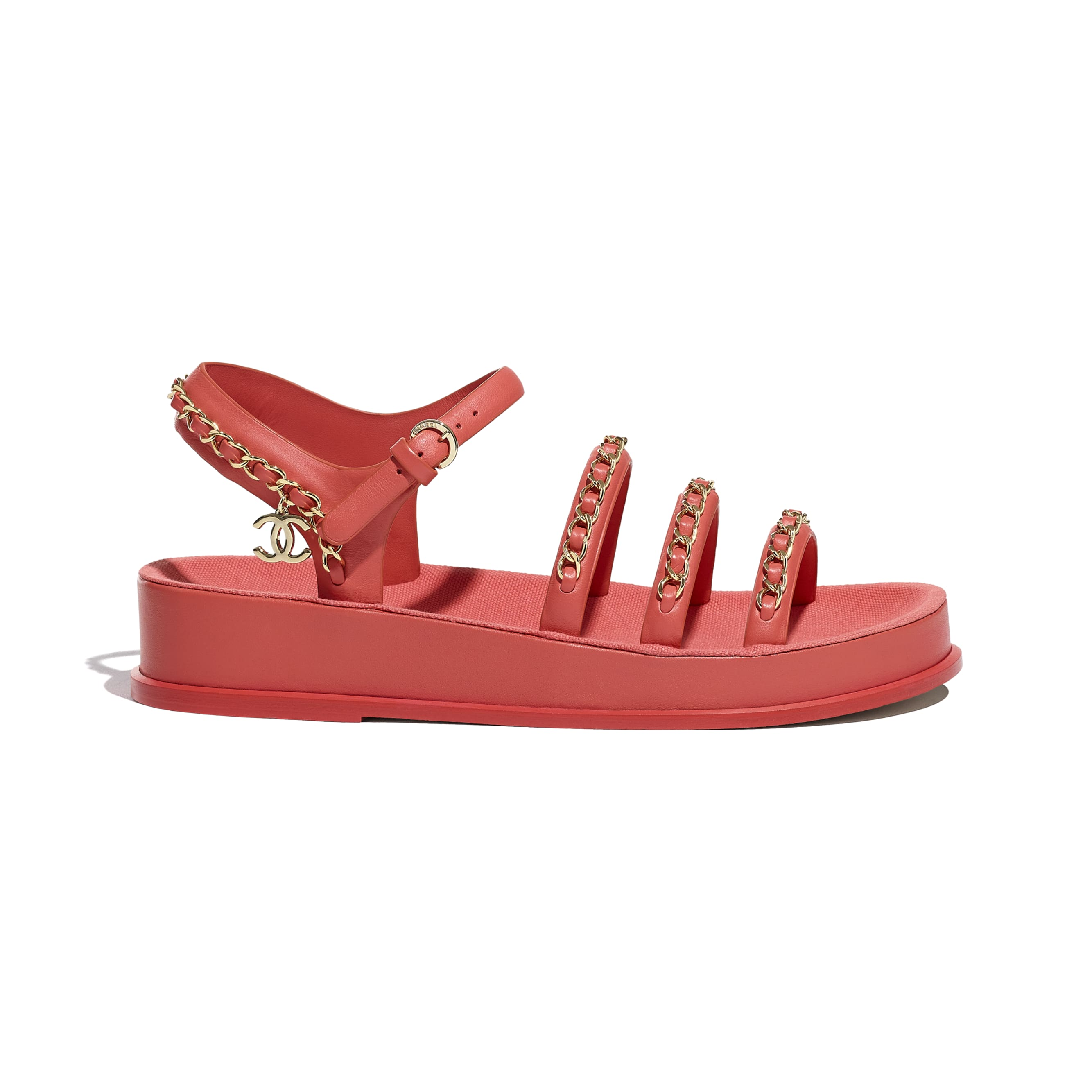 Sandals - Red - Calfskin - CHANEL - Default view - see standard sized version