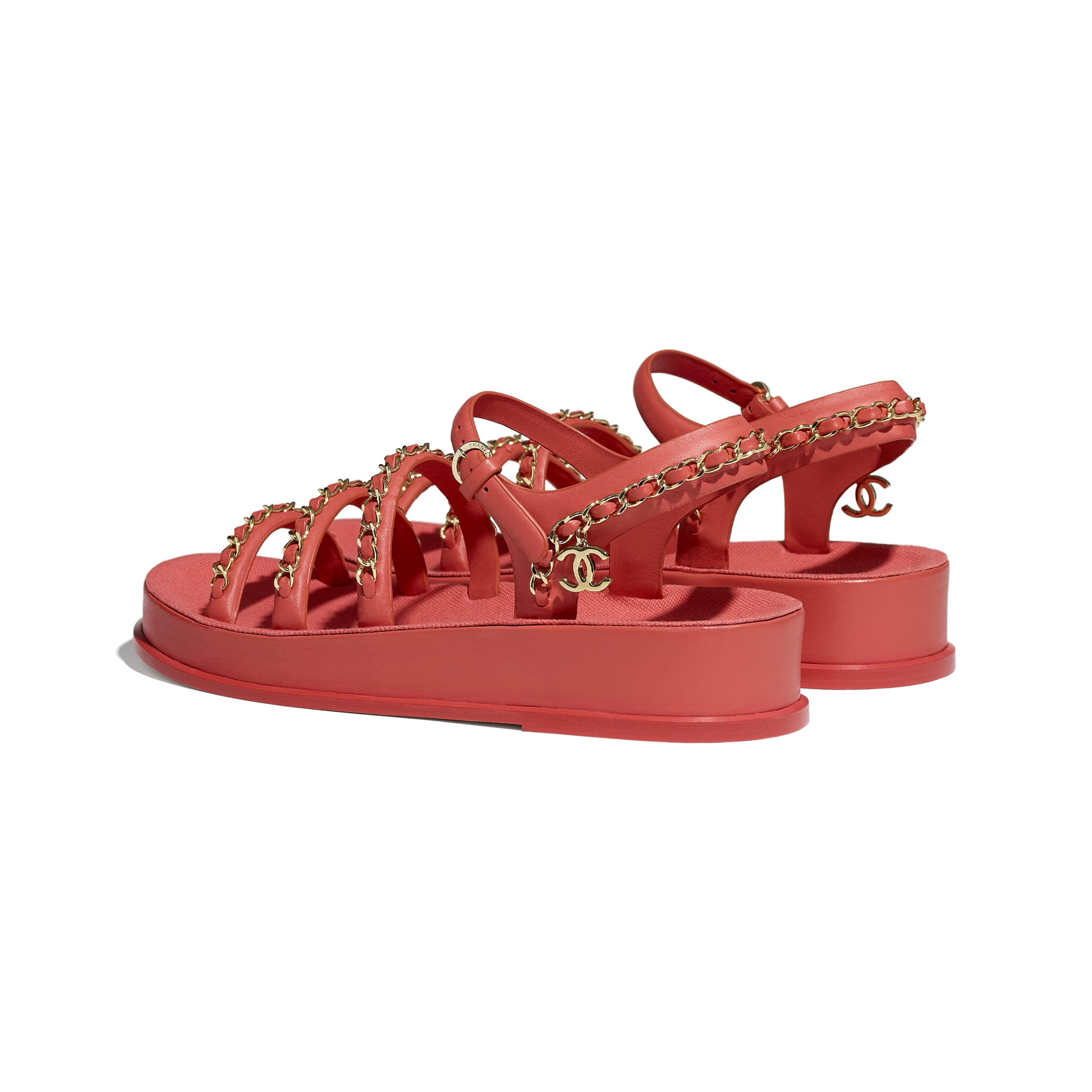 Sandals - Red - Calfskin - CHANEL - Other view - see standard sized version