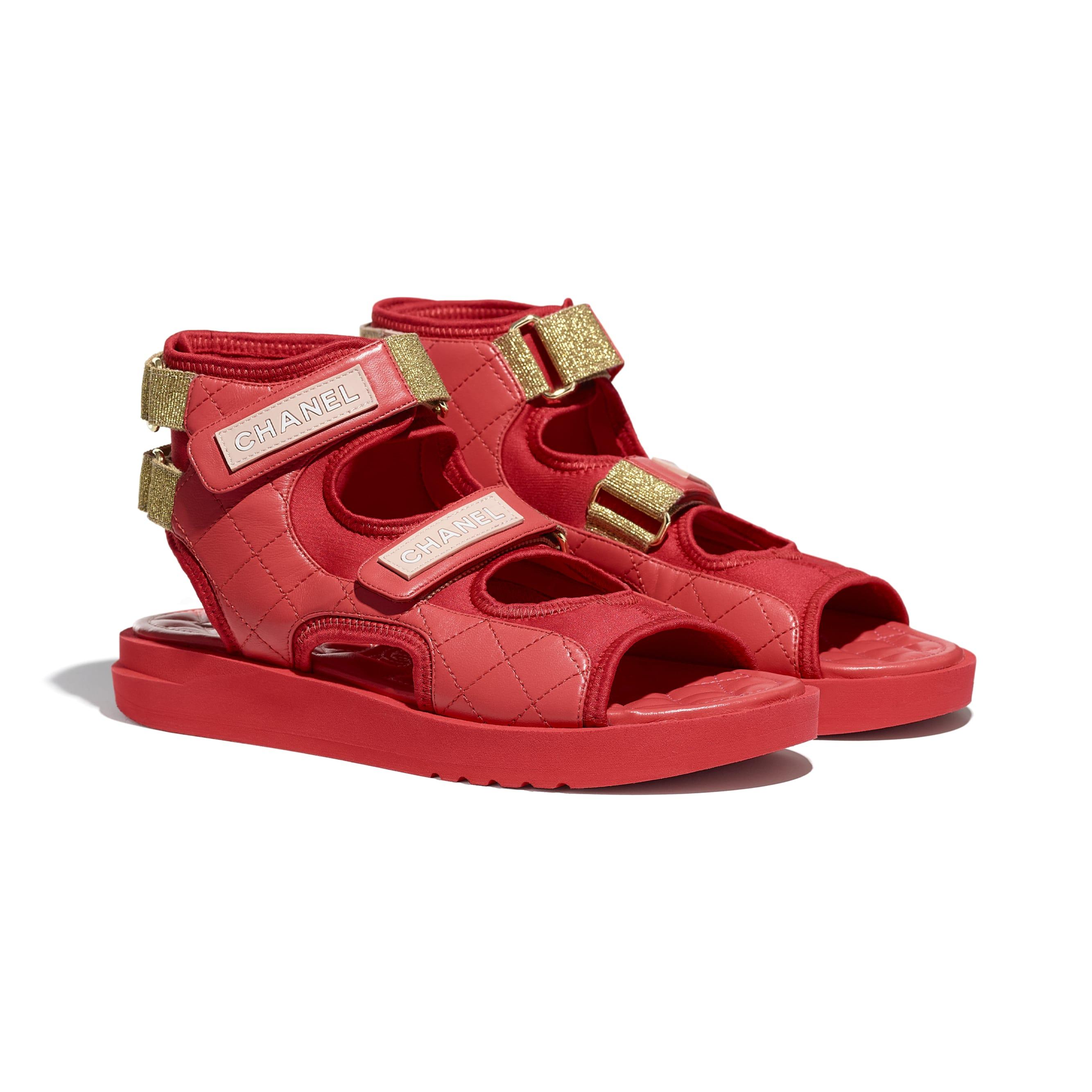 Sandales - Rouge, rouge foncé & rose clair - Chèvre, Tissu & TPU - CHANEL - Vue alternative - voir la version taille standard