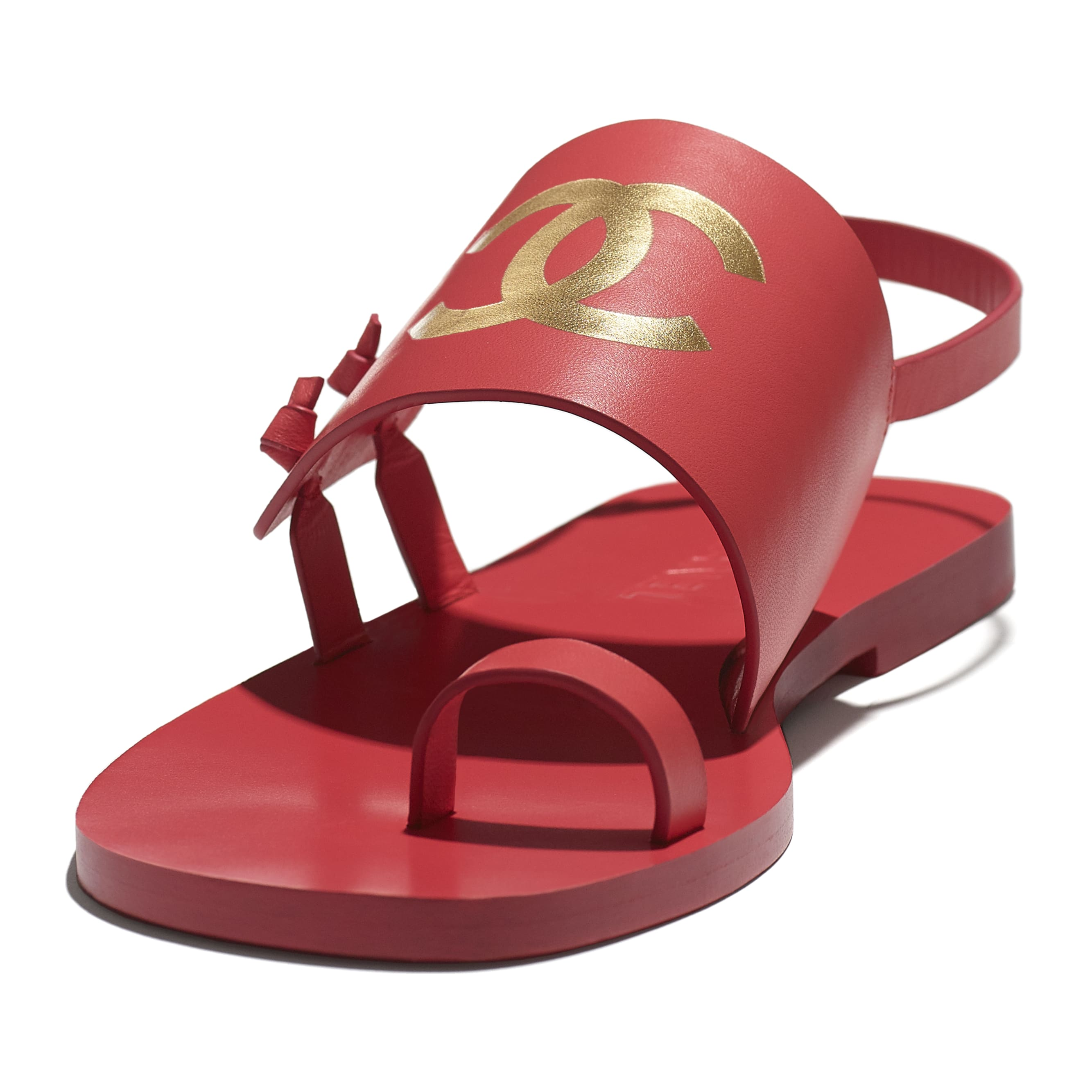 Sandals - Red - Goatskin - CHANEL - Extra view - see standard sized version