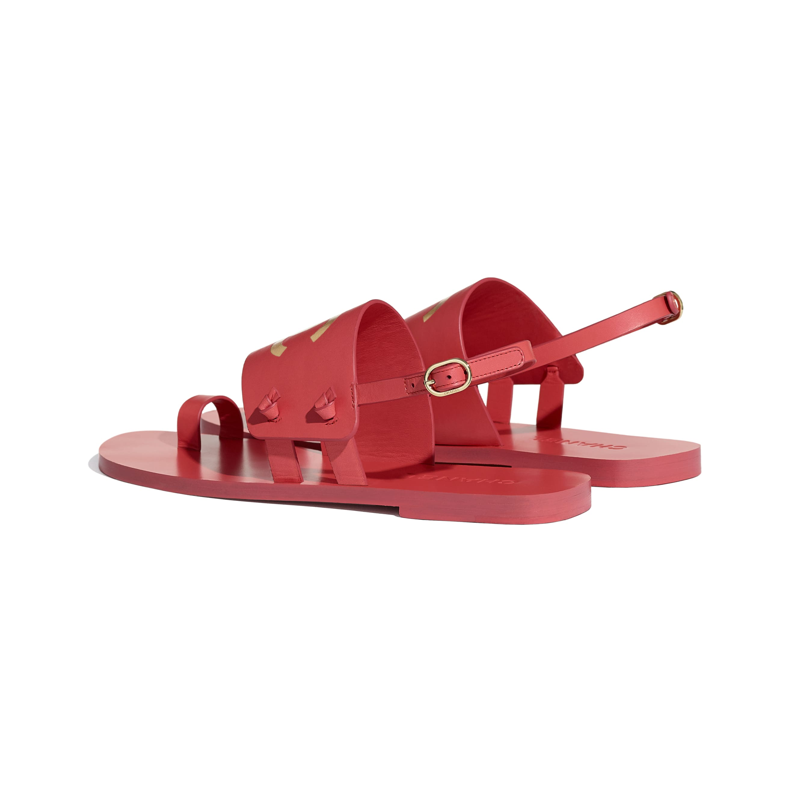 Sandals - Red - Goatskin - CHANEL - Other view - see standard sized version