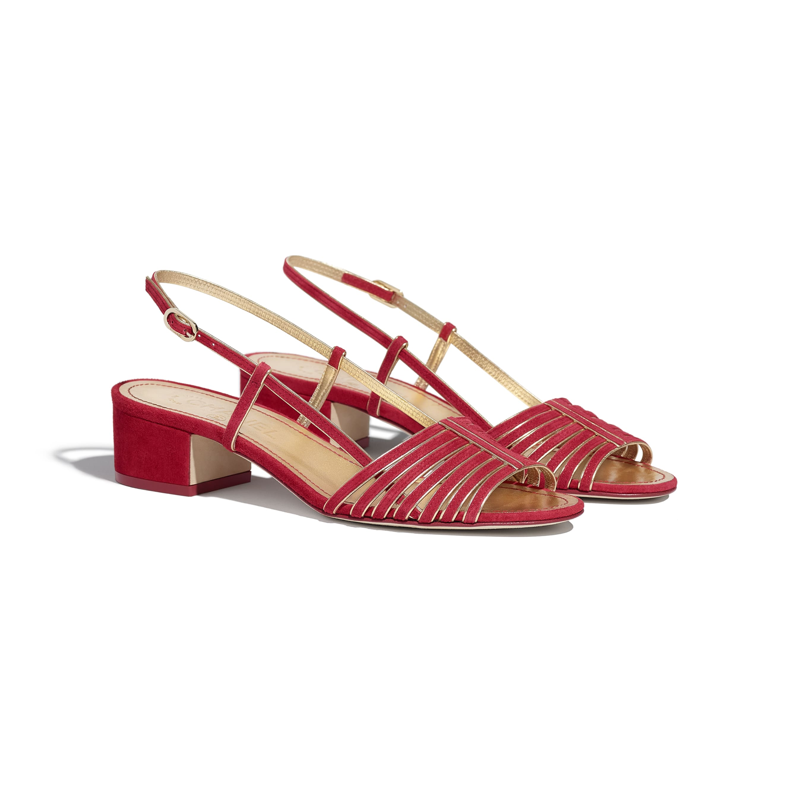 Sandals - Red & Gold - Suede Kidskin - CHANEL - Alternative view - see standard sized version
