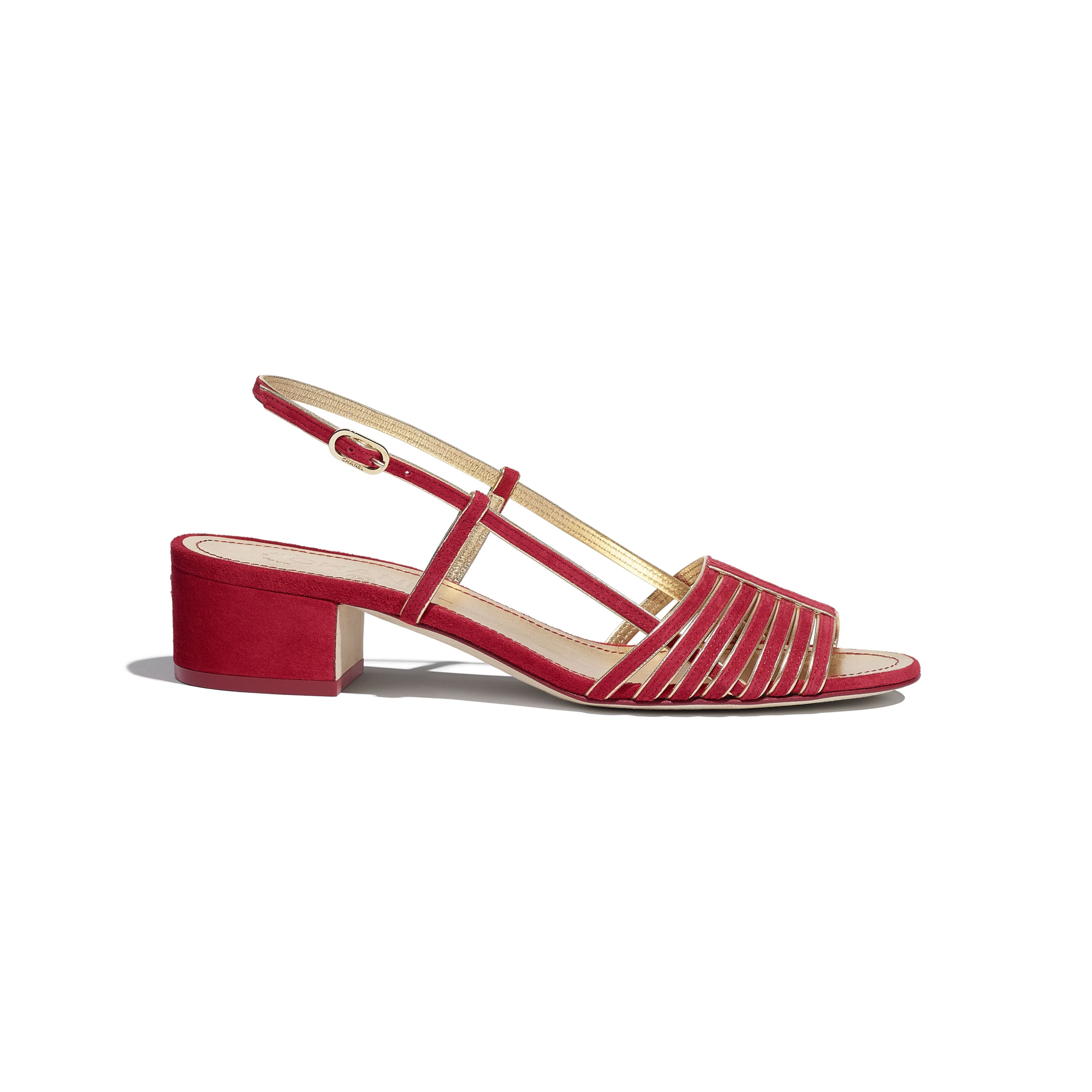 Sandals - Red & Gold - Suede Kidskin - CHANEL - Default view - see standard sized version