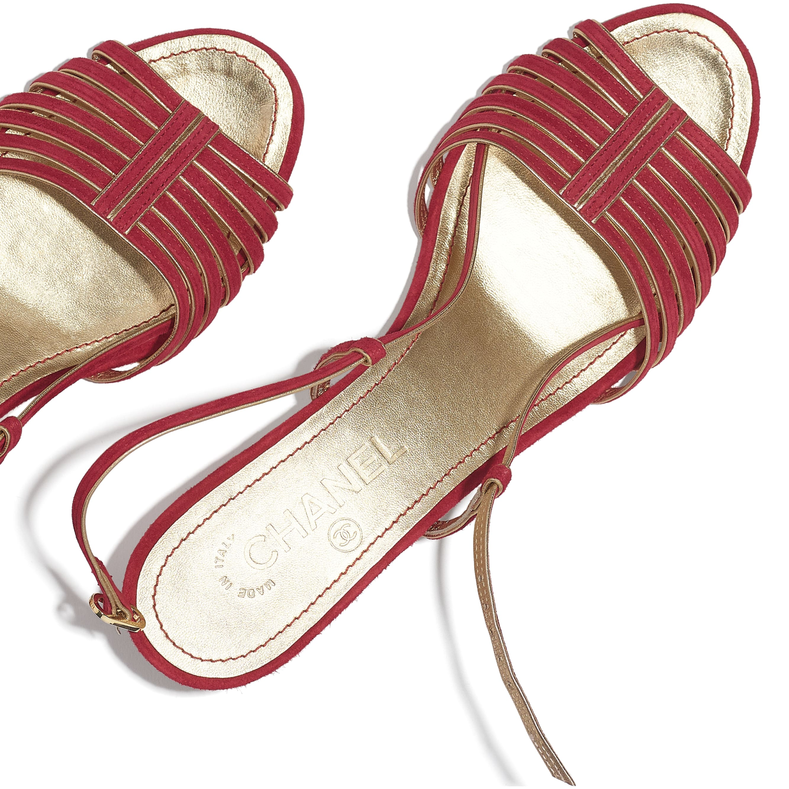 Sandals - Red & Gold - Suede Kidskin - CHANEL - Extra view - see standard sized version