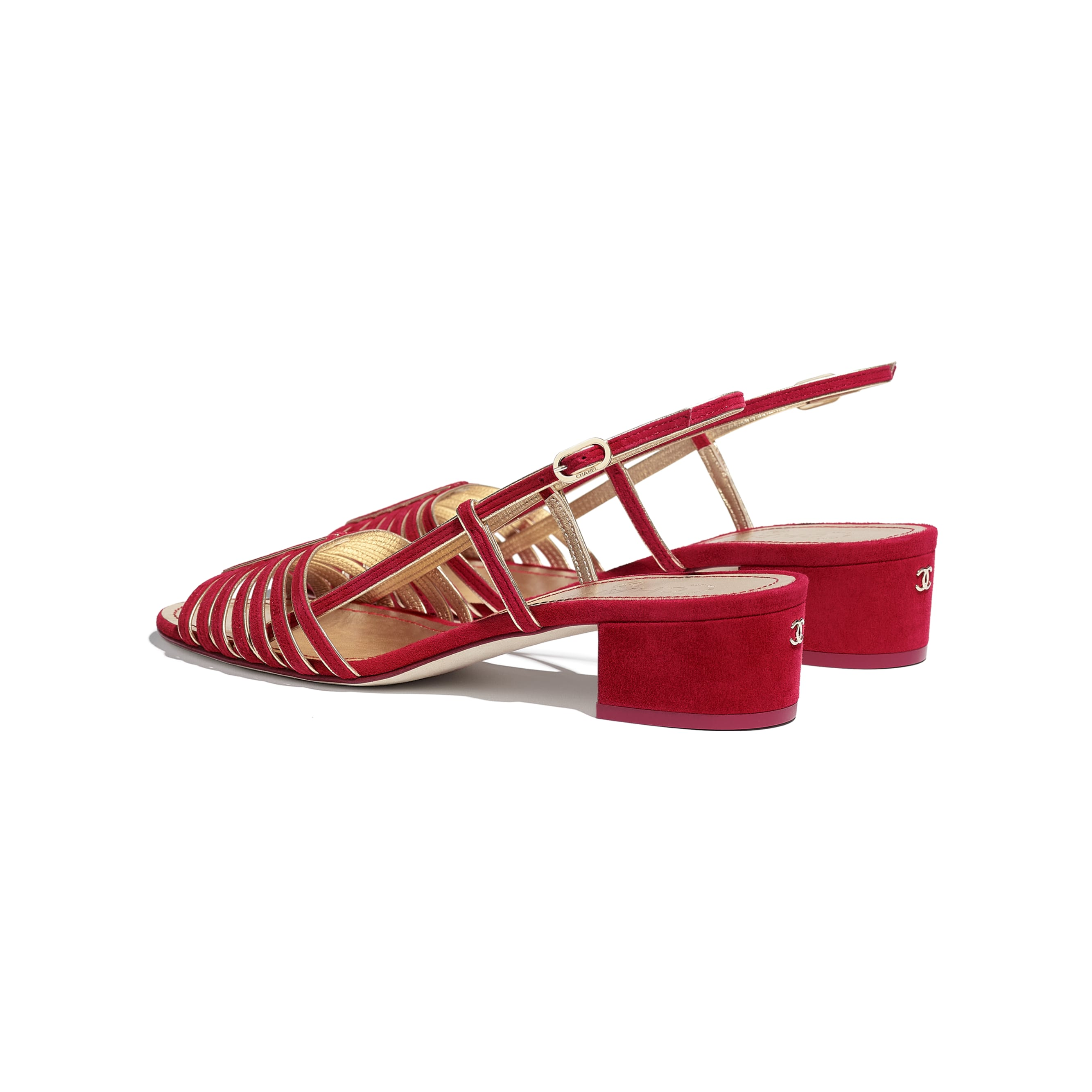 Sandals - Red & Gold - Suede Kidskin - CHANEL - Other view - see standard sized version