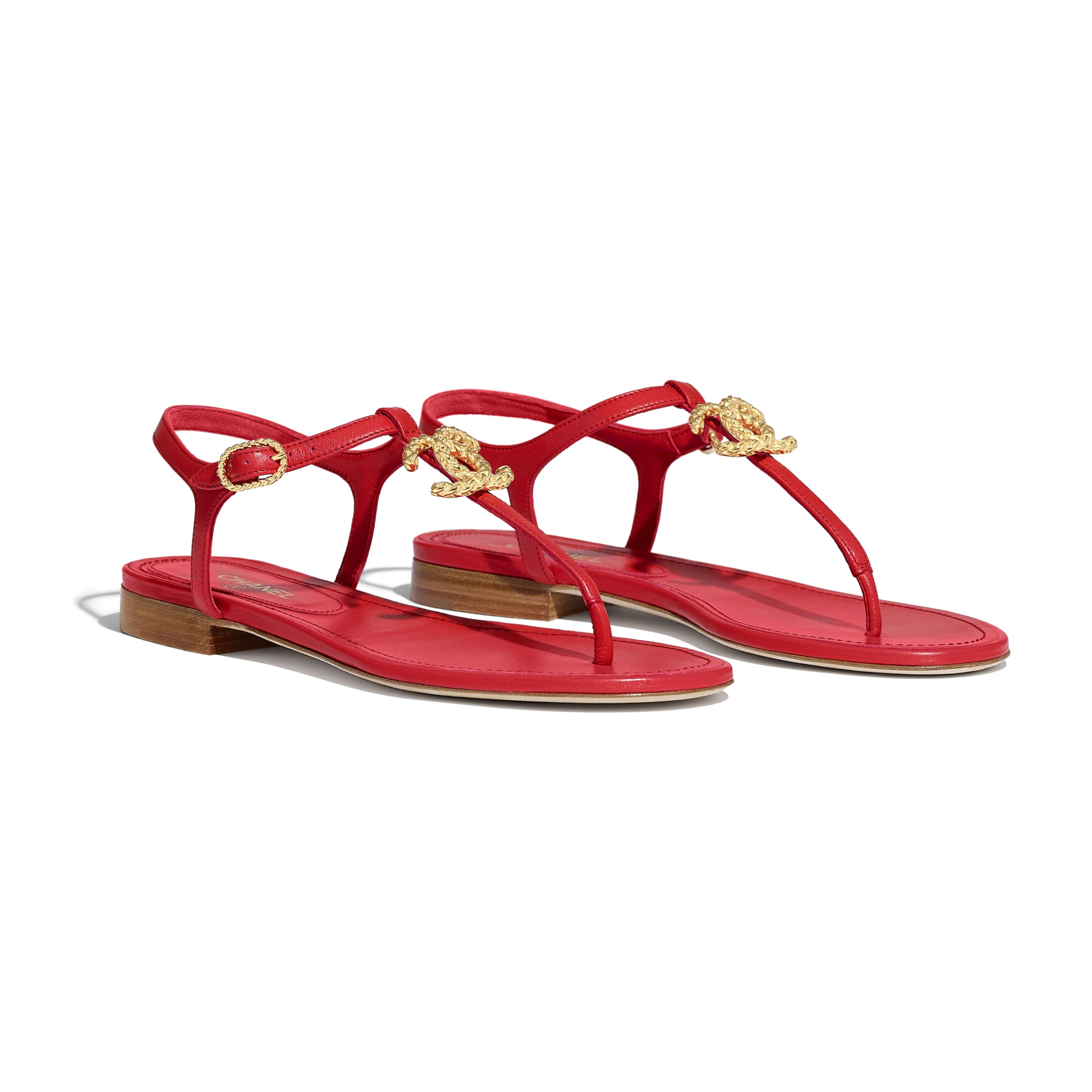 Sandals - Red - Lambskin - CHANEL - Alternative view - see standard sized version