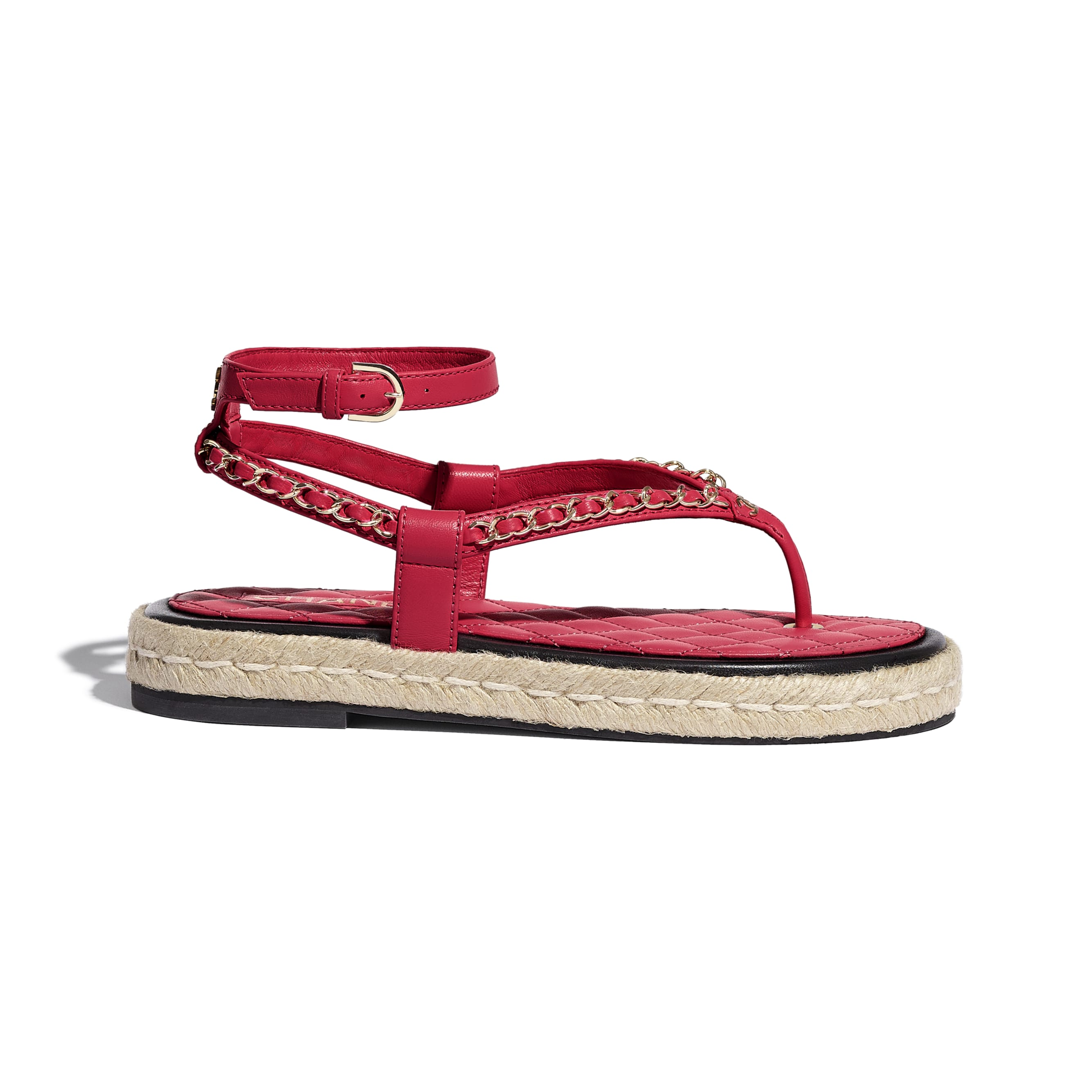 Sandals - Red - Lambskin - CHANEL - Default view - see standard sized version