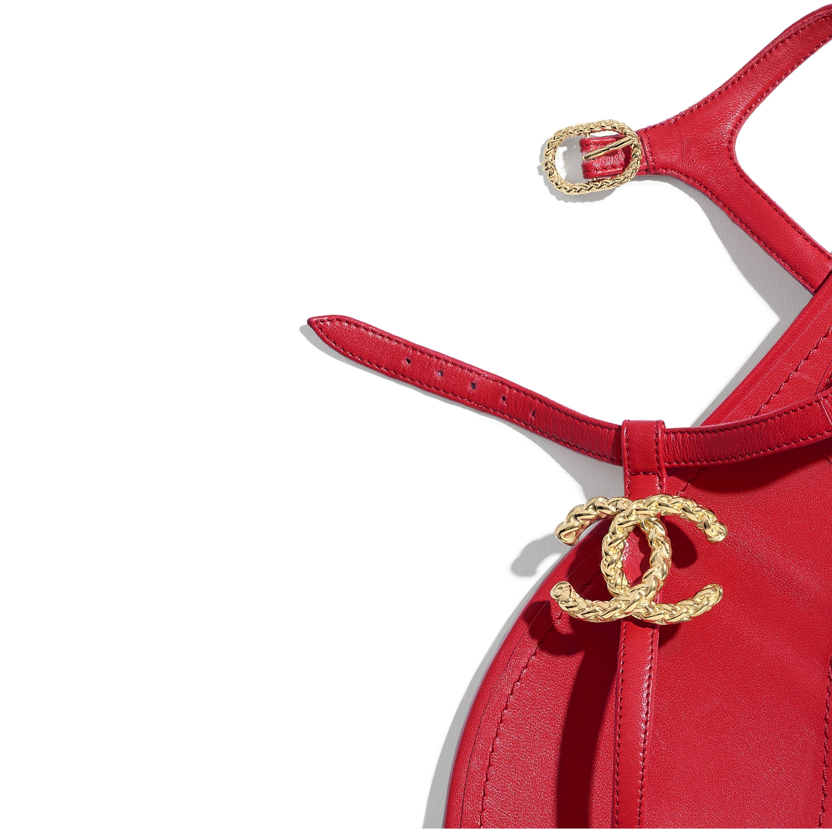 Sandals - Red - Lambskin - CHANEL - Extra view - see standard sized version