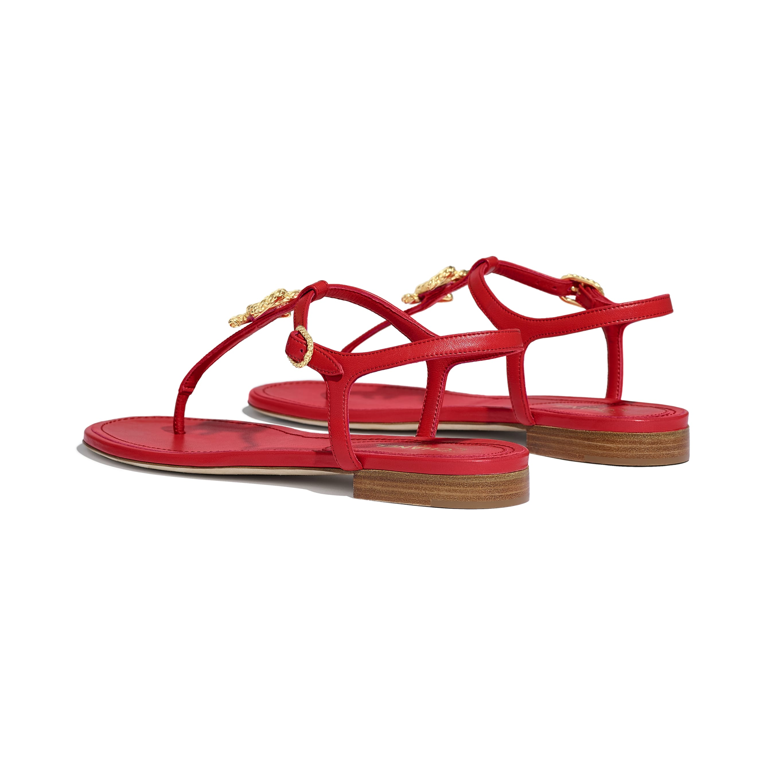 Sandals - Red - Lambskin - CHANEL - Other view - see standard sized version