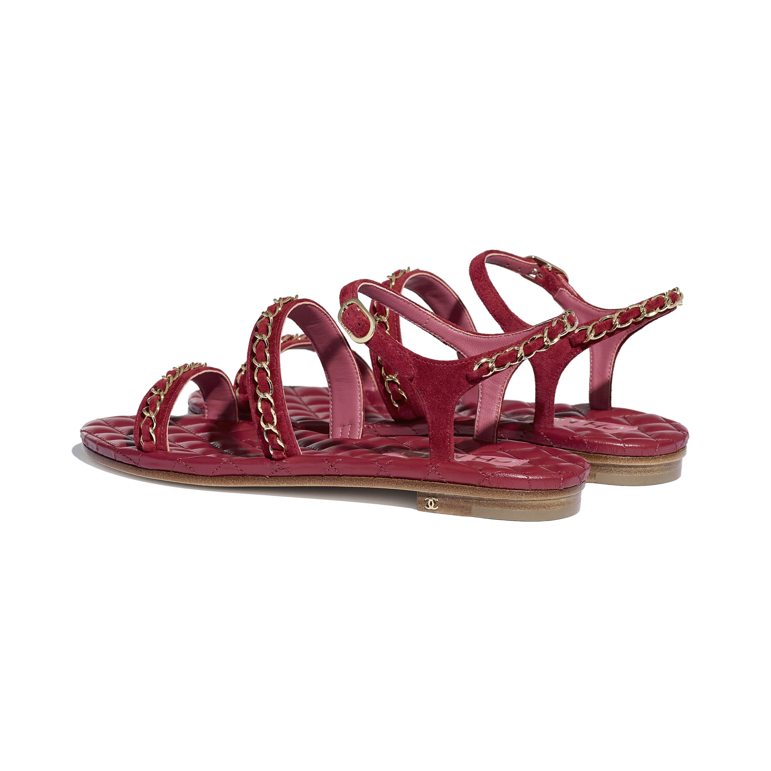 Sandals - Red - Suede Calfskin - CHANEL - Other view - see standard sized version