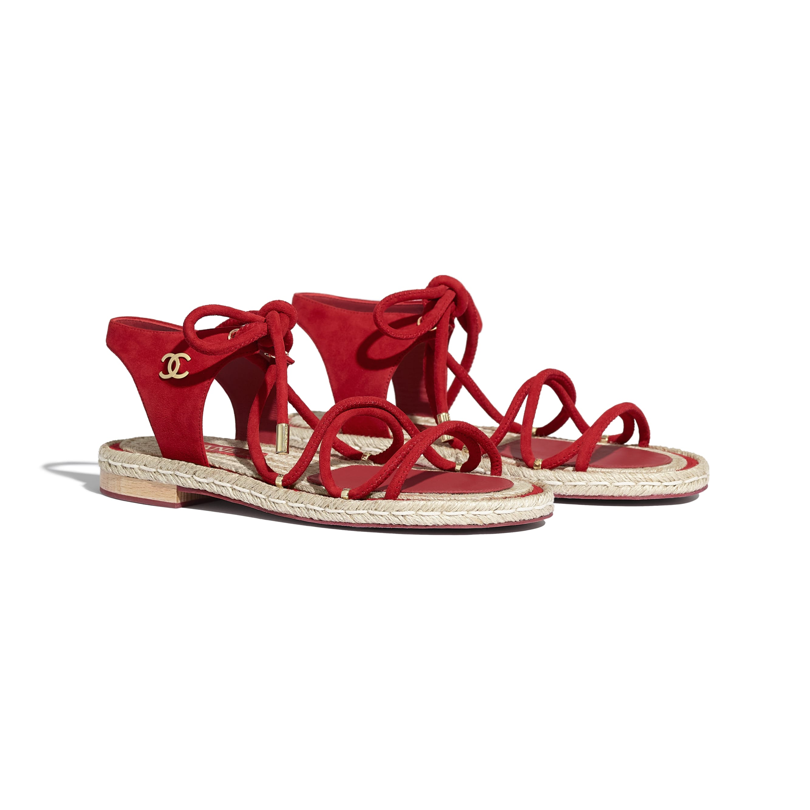 Sandals - Red - Suede Kidskin - CHANEL - Alternative view - see standard sized version