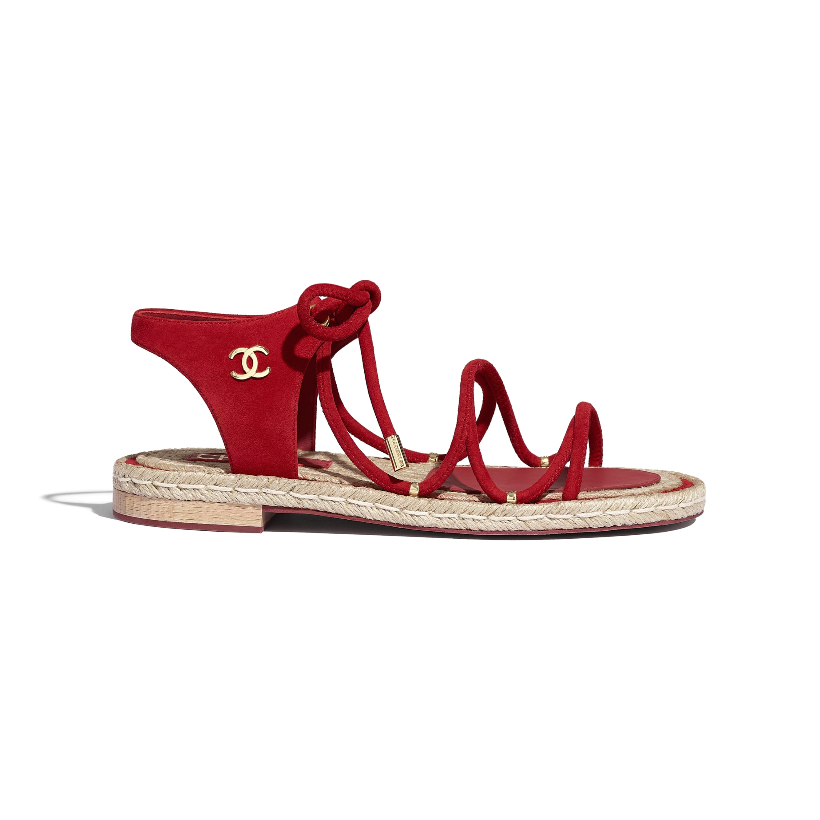 Sandals - Red - Suede Kidskin - CHANEL - Default view - see standard sized version