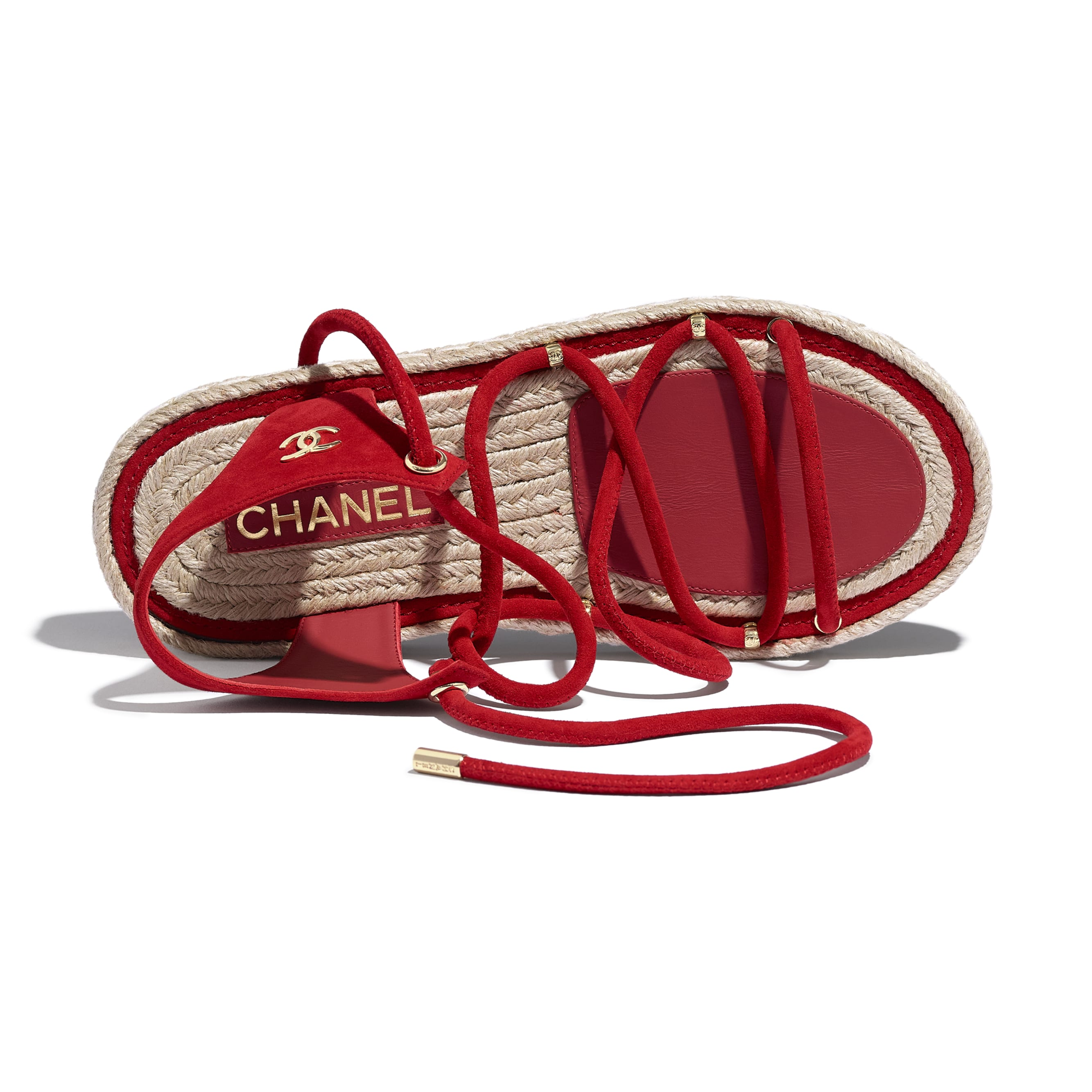 Sandals - Red - Suede Kidskin - CHANEL - Extra view - see standard sized version