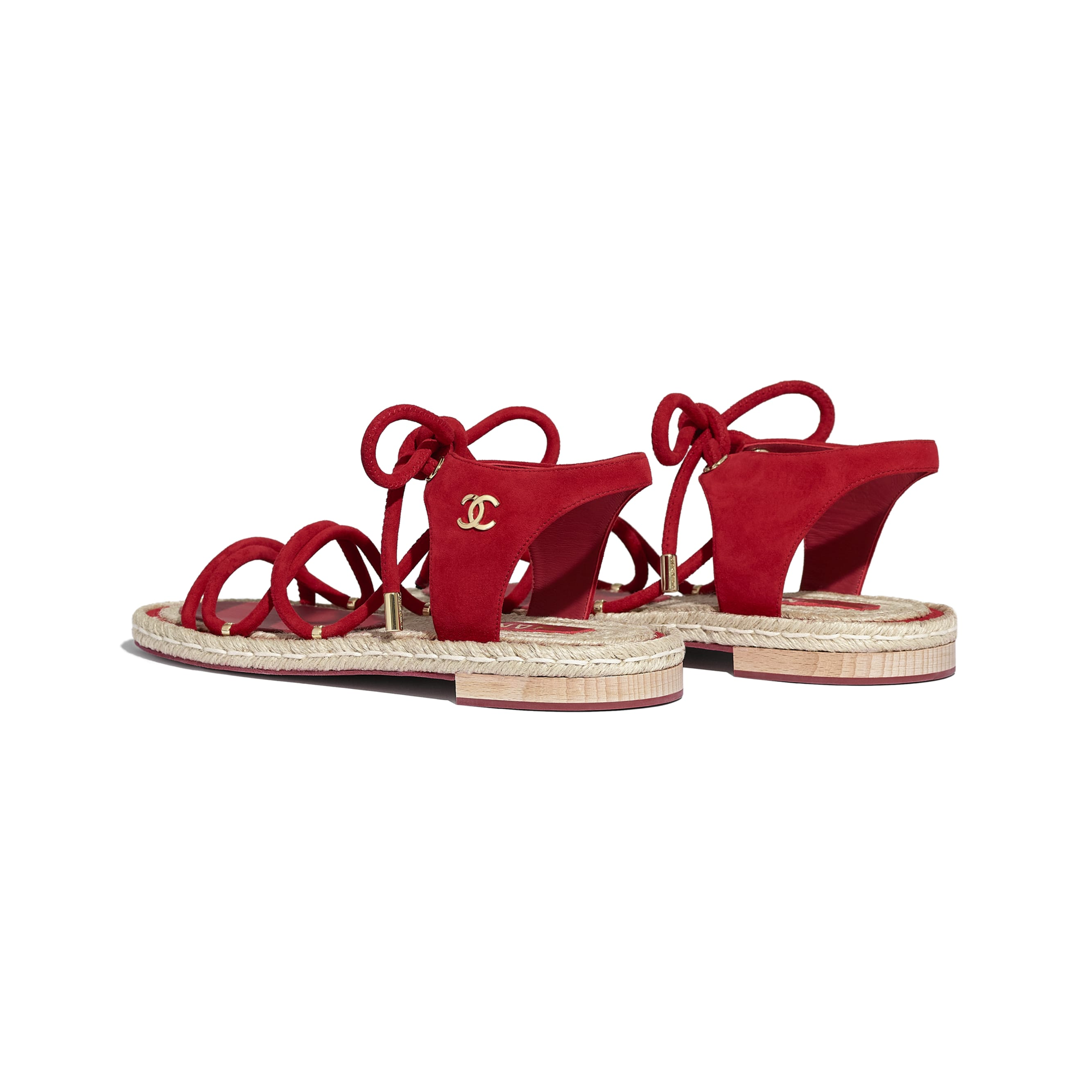 Sandals - Red - Suede Kidskin - CHANEL - Other view - see standard sized version