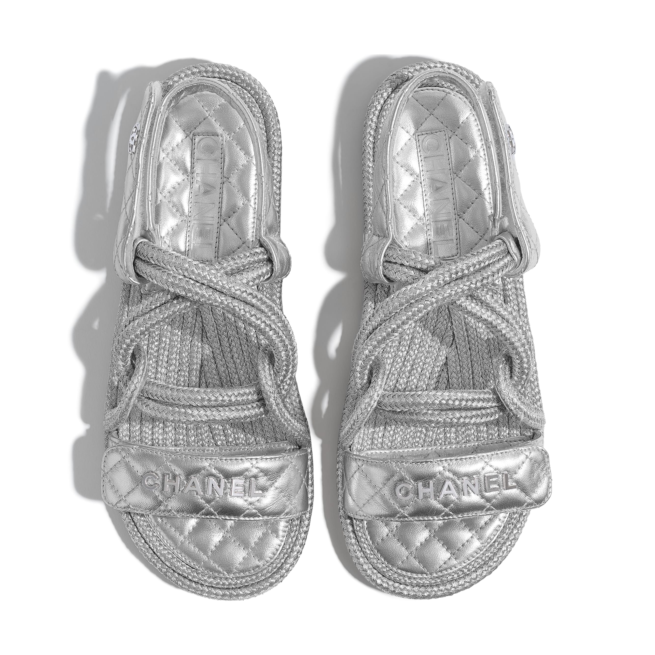 Sandals - Silver - Cord & Lambskin - CHANEL - Extra view - see standard sized version